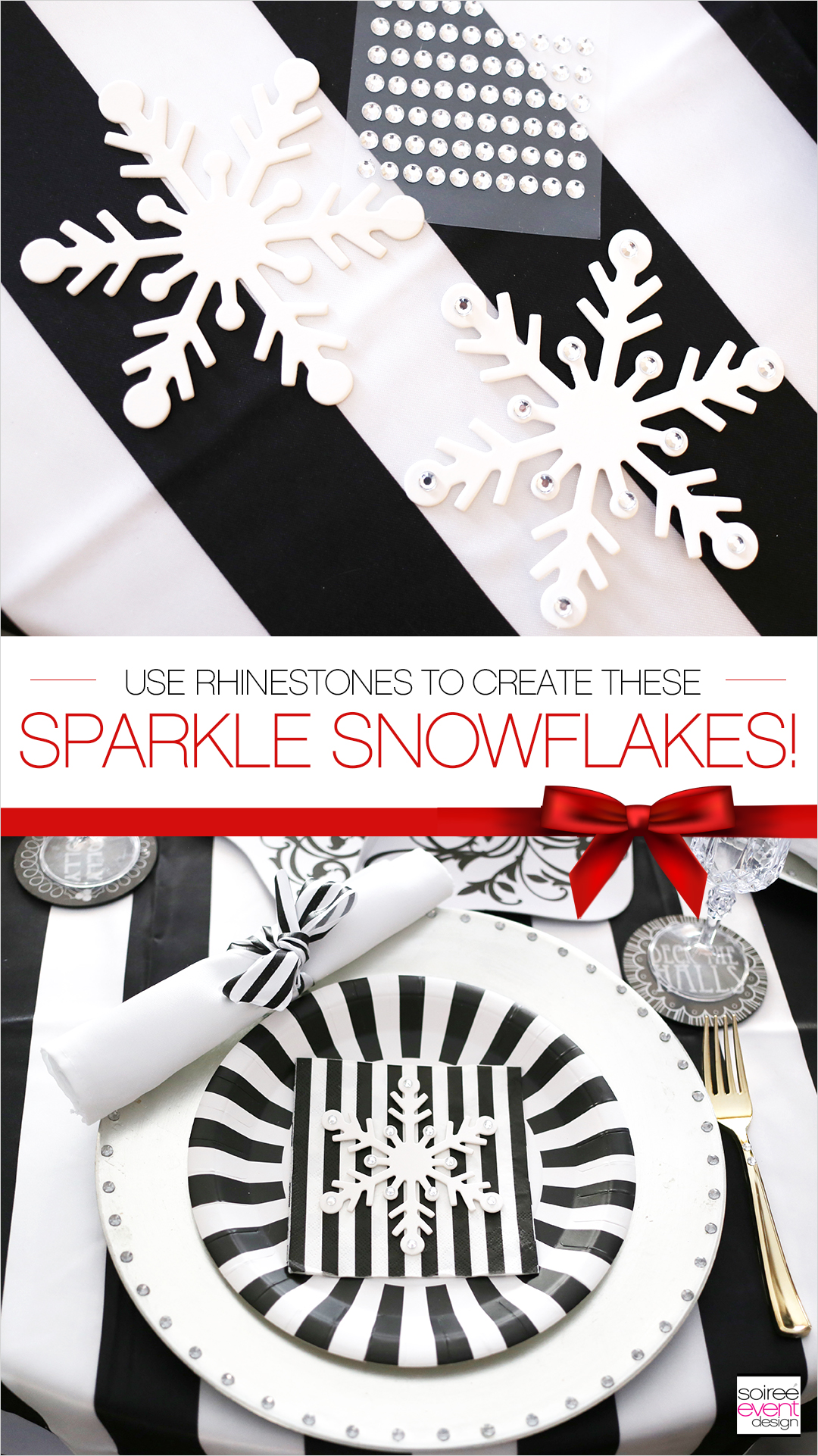 Black and white Christmas Tablescape, Rhinestone Snowflakes