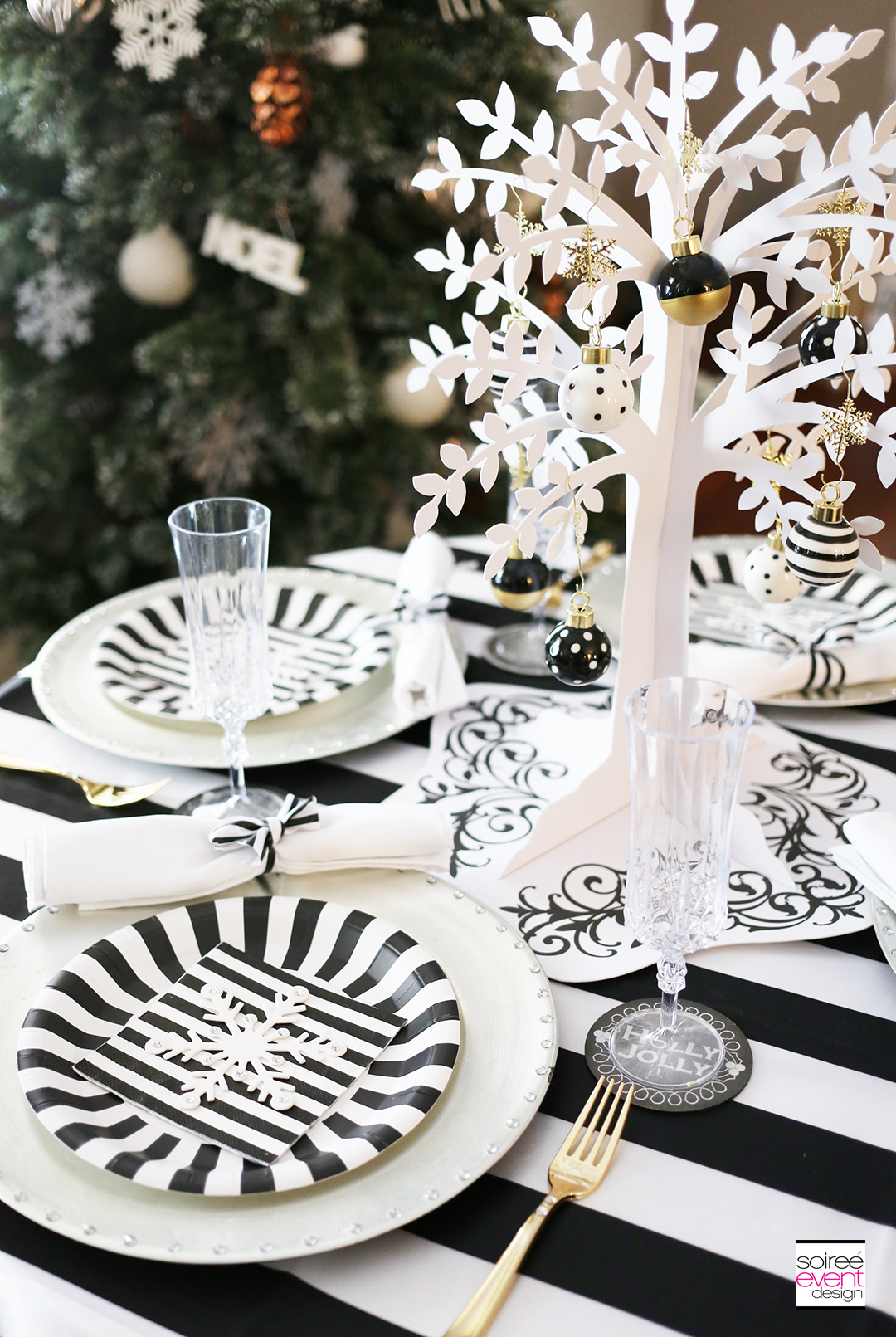design a stylish u0026 affordable black and white christmas tablescape