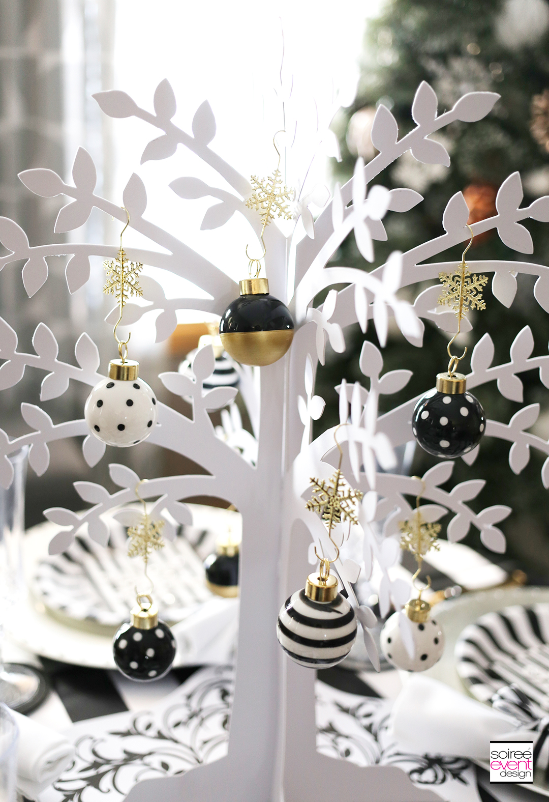 Black and white Christmas Tablescape, White Tree Centerpiece