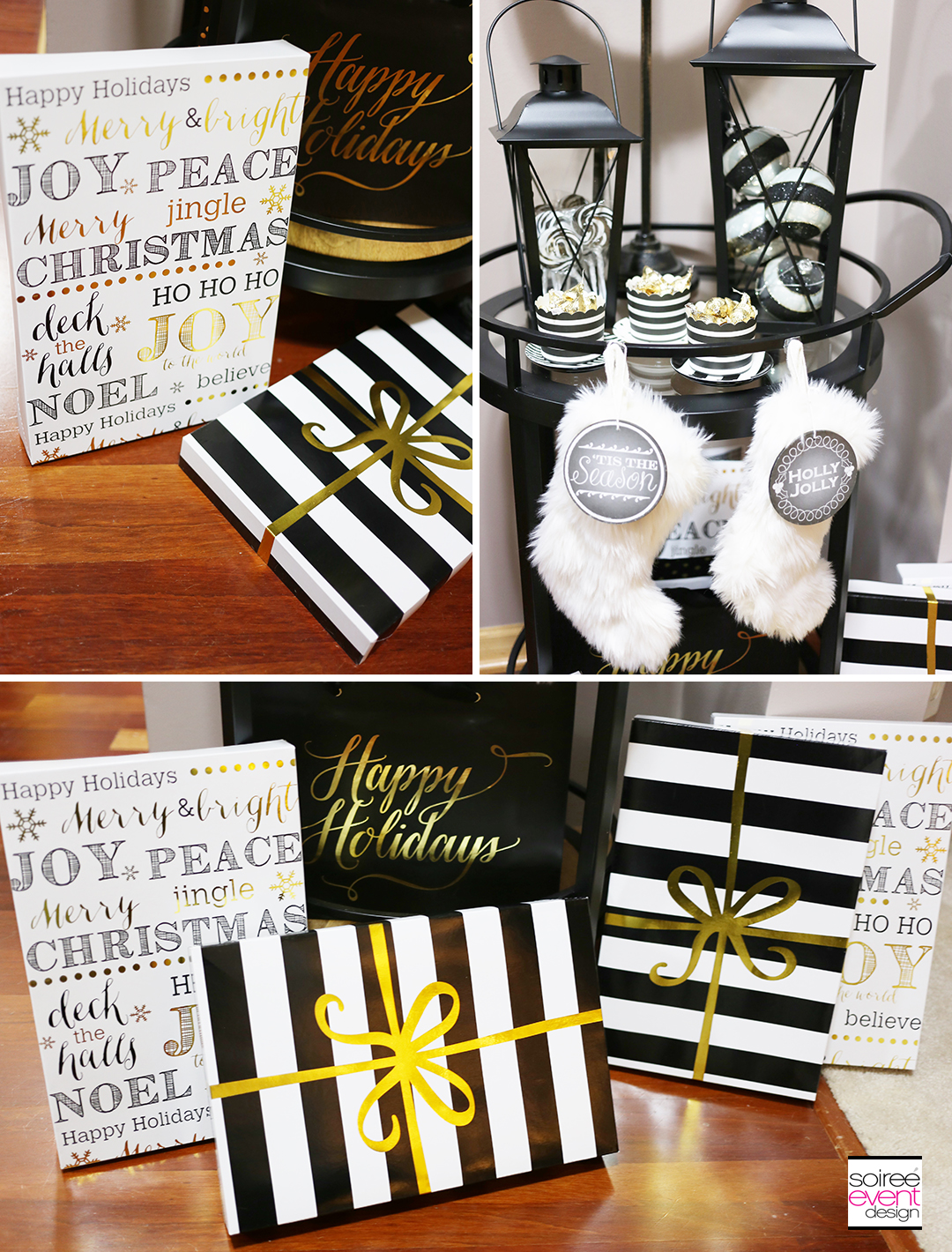 black white and gold christmas decorations