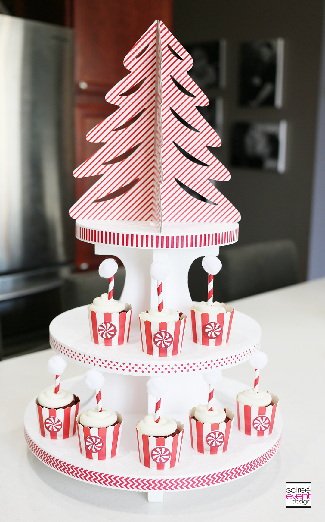 Candy Cane Cupcake Stand