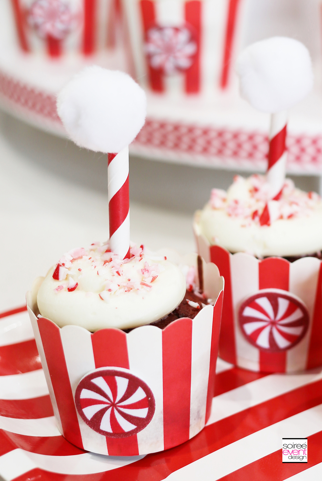 Holiday Cupcakes and Cocktails, Candy Cane Cupcakes