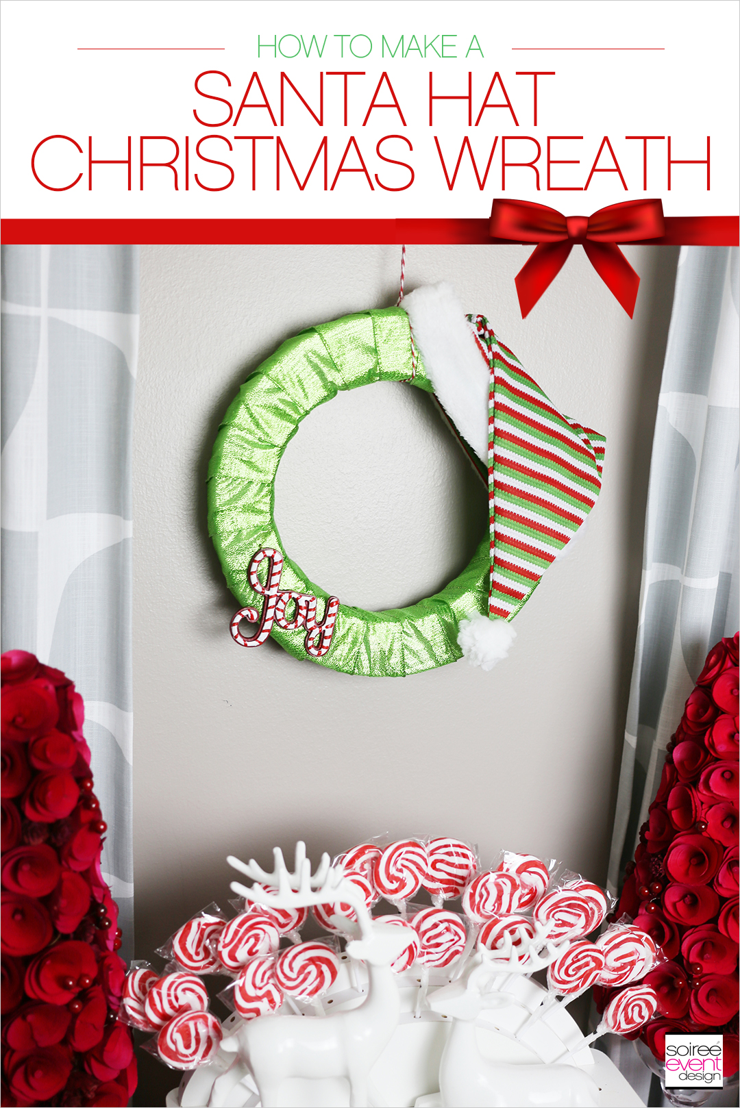 Christmas Gift Wrapping Party, Santa Hat Christmas Wreath