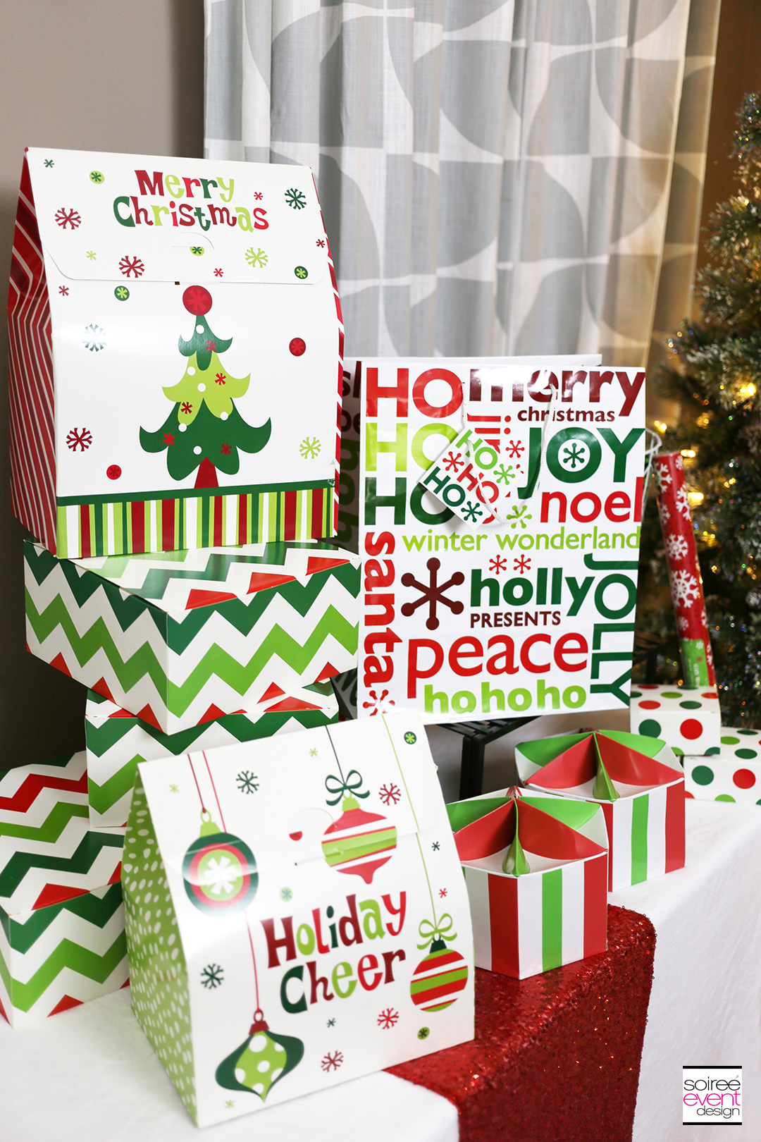 Christmas Gift Wrapping party, Christmas Boxes
