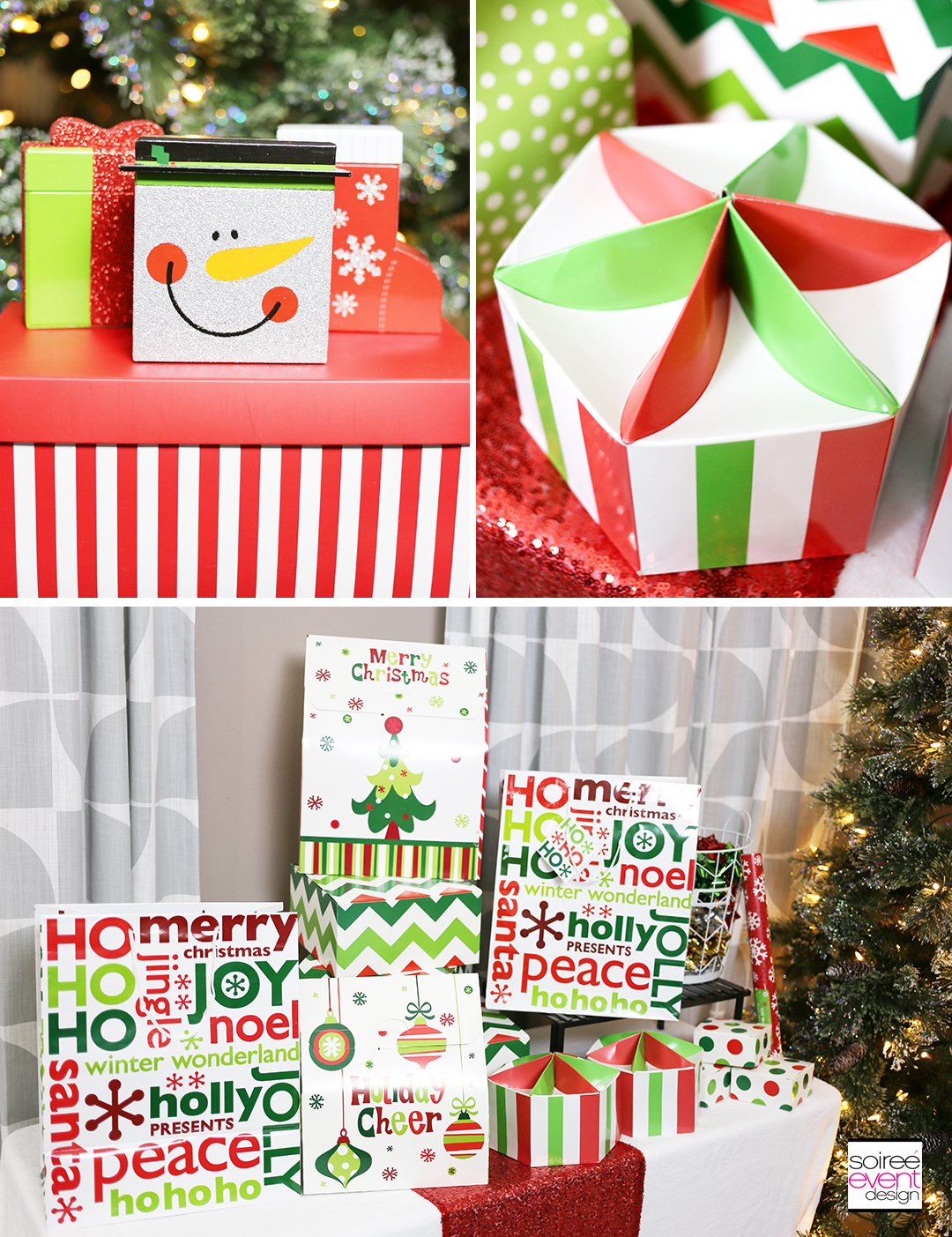 Christmas Gift Wrapping party, Christmas gift Boxes