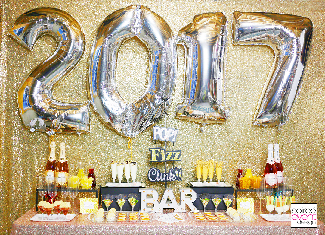 Gold New Years Eve Cocktail Party Appetizer Bar
