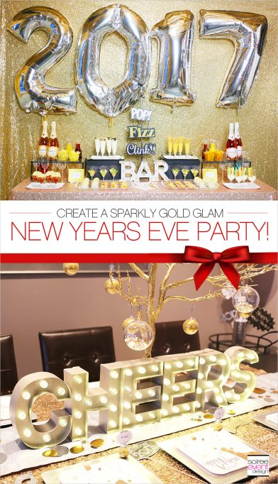 Gold New Years Eve Cocktail Party + Mimosa Bar