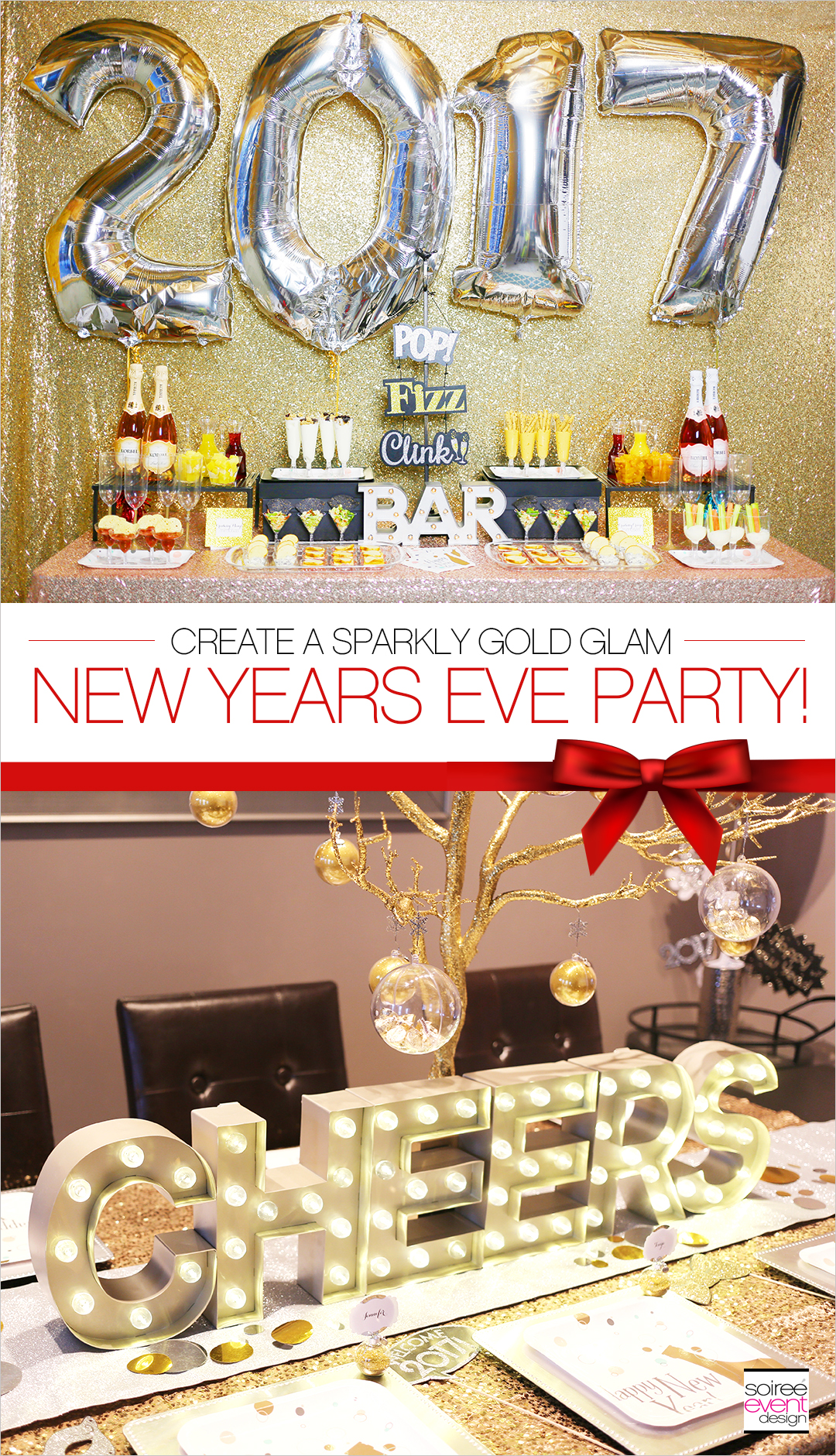 Gold New Years Eve Cocktail Party + Mimosa Bar - Soiree ...