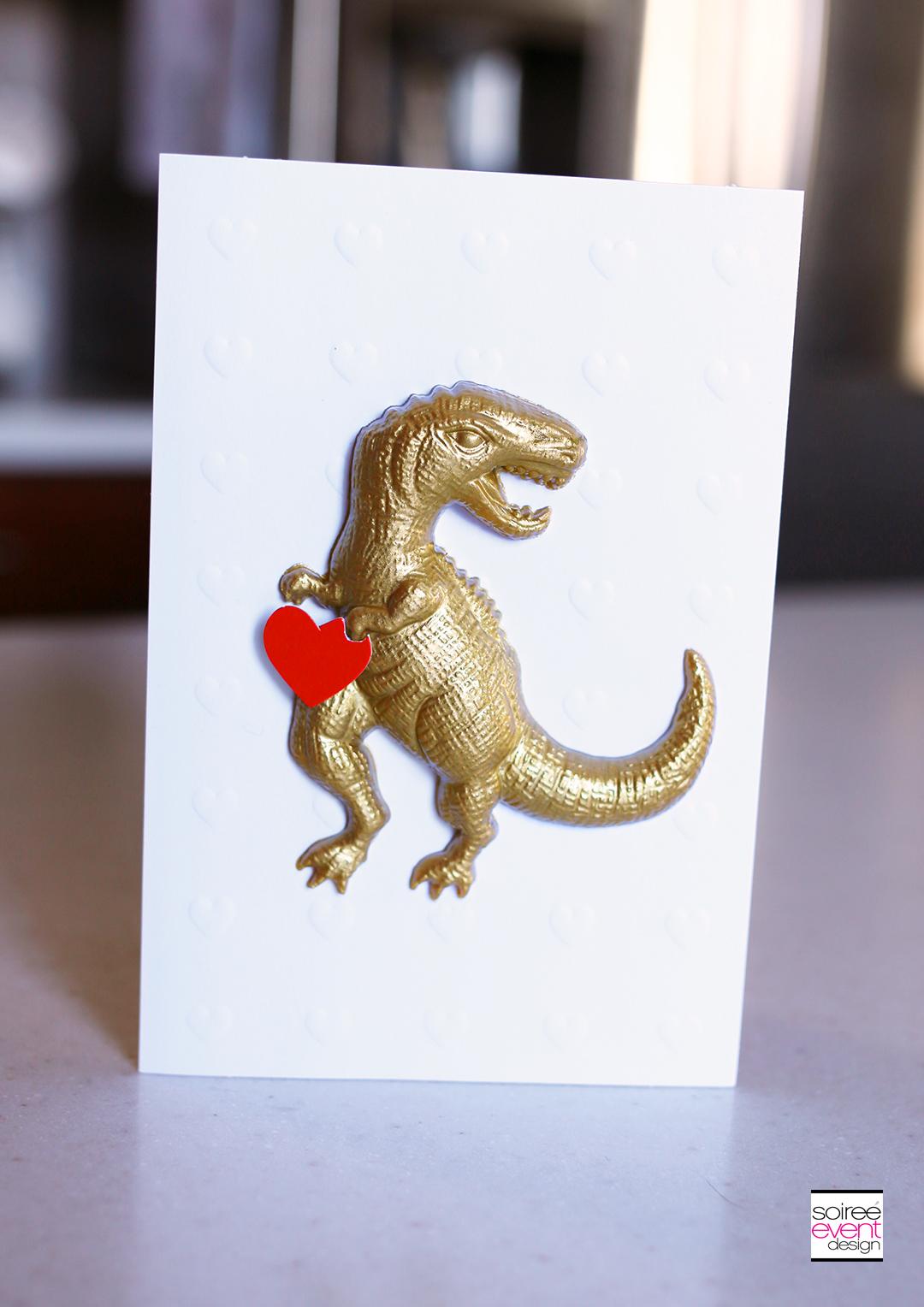 Hallmark Valentines Day Card - Gold Dinosaur