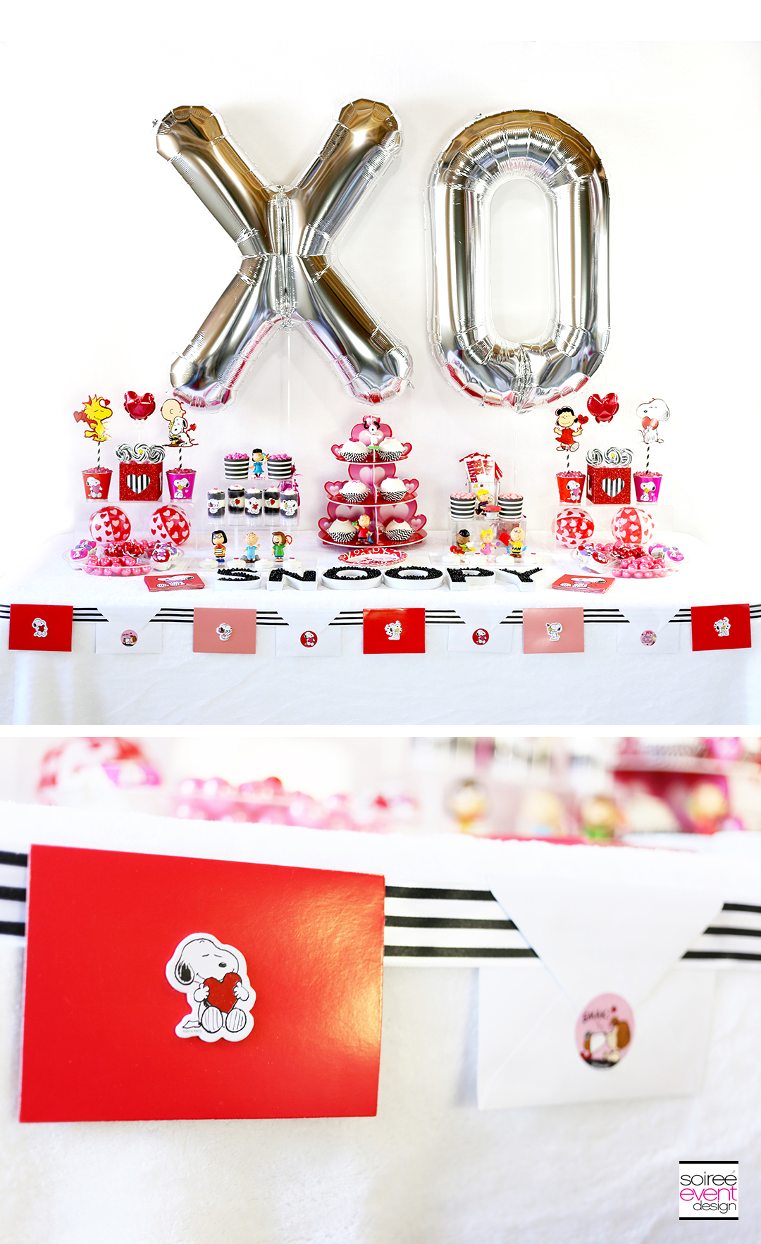 Modern and Cute Peanuts Valentines Day Party Soiree Event Design
