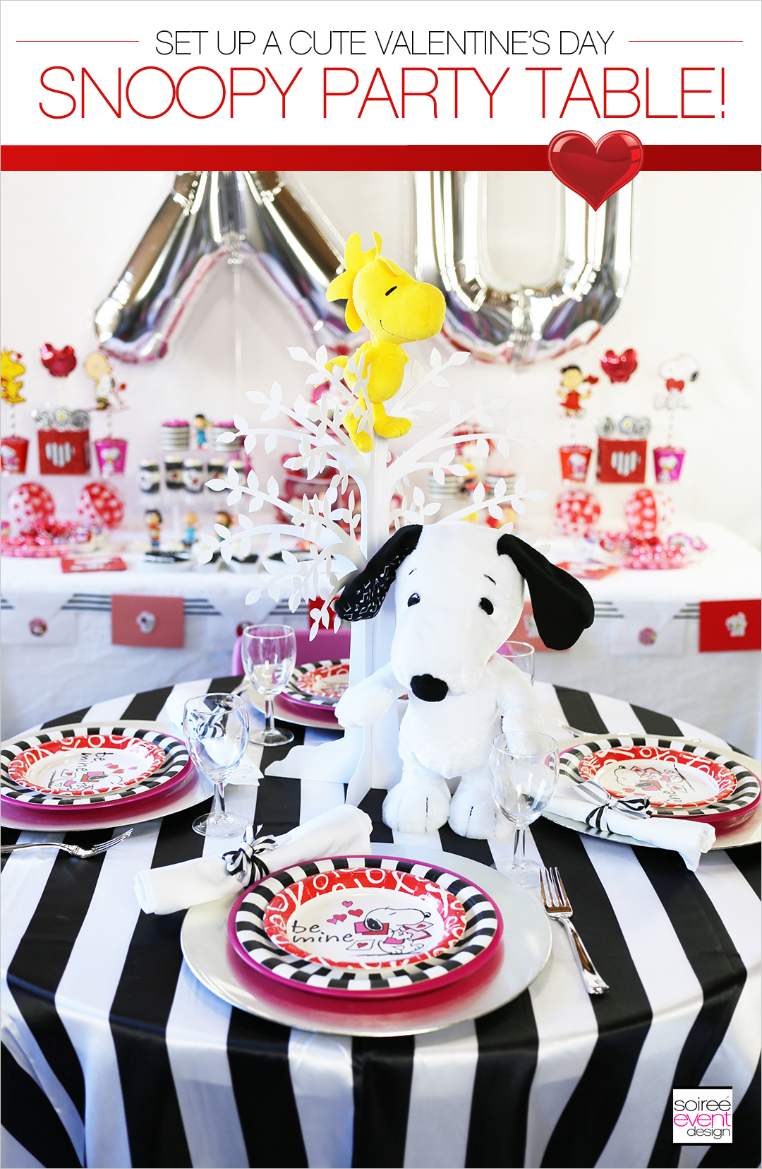 Peanuts Valentines Day Party, Snoopy Party Table