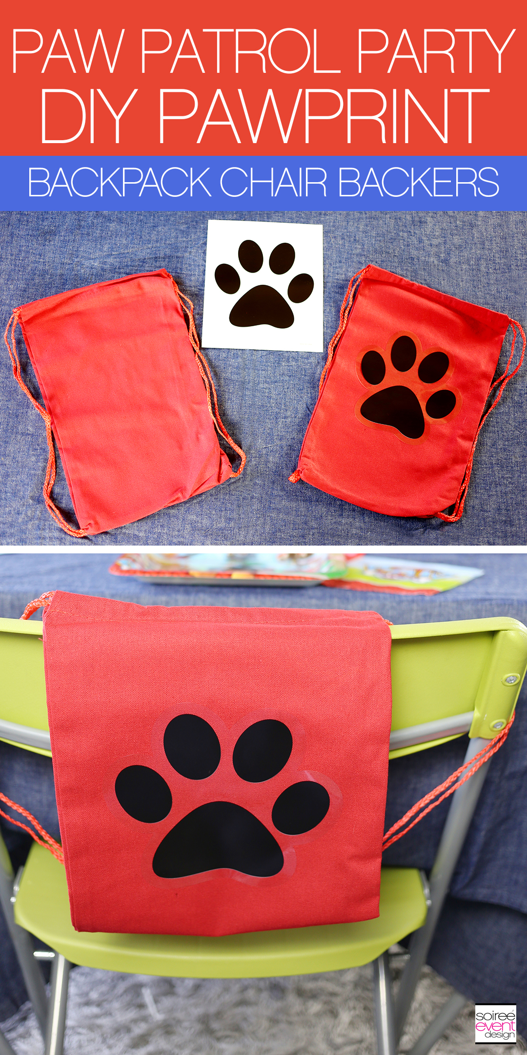 Paw Patrol Party - DIY Pawprint Backpacks