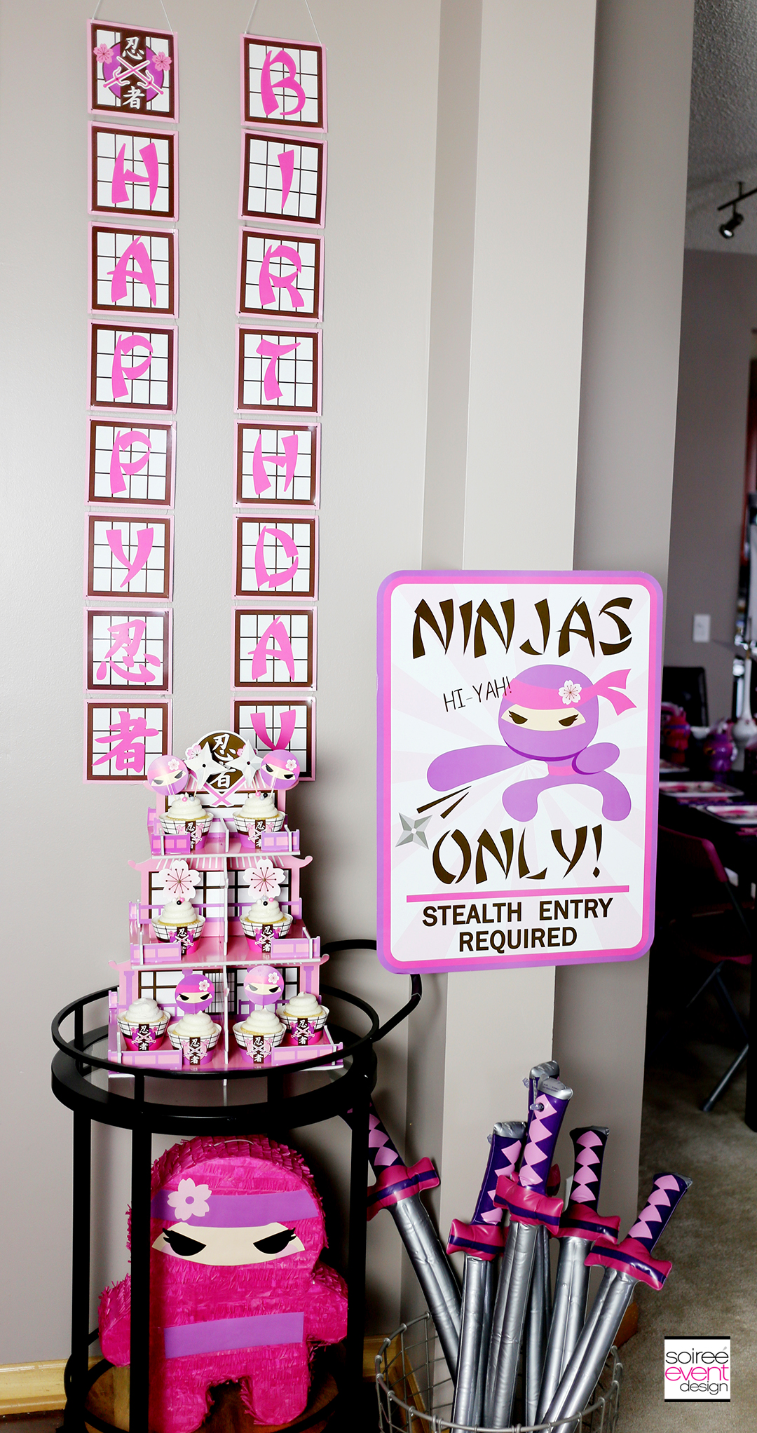 Pink NInja Party Decorations and Favors