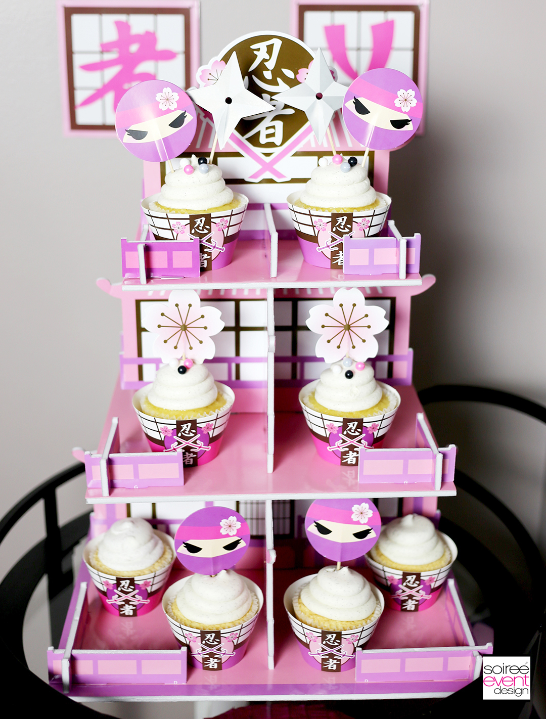 Pink Ninja Party Cupcake Stand