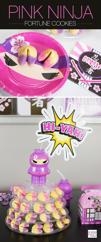 Pink Ninja Party Fortune Cookies