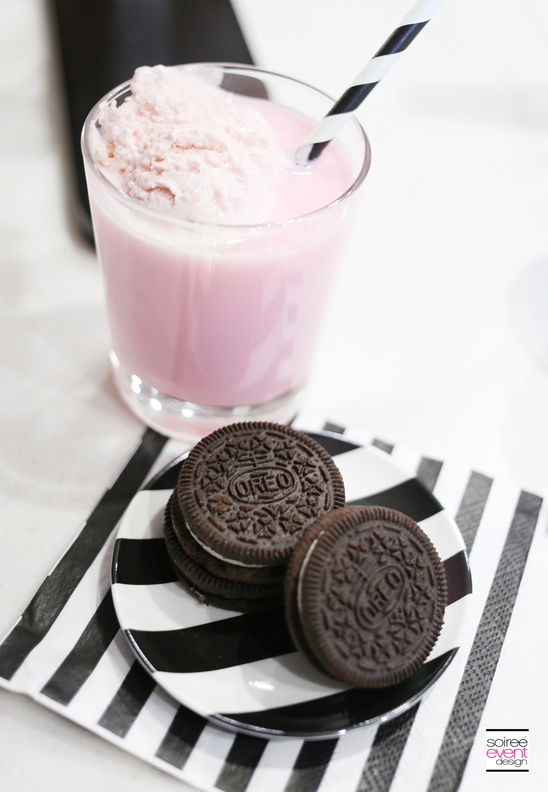 Strawberry Milk and OREO Cookies