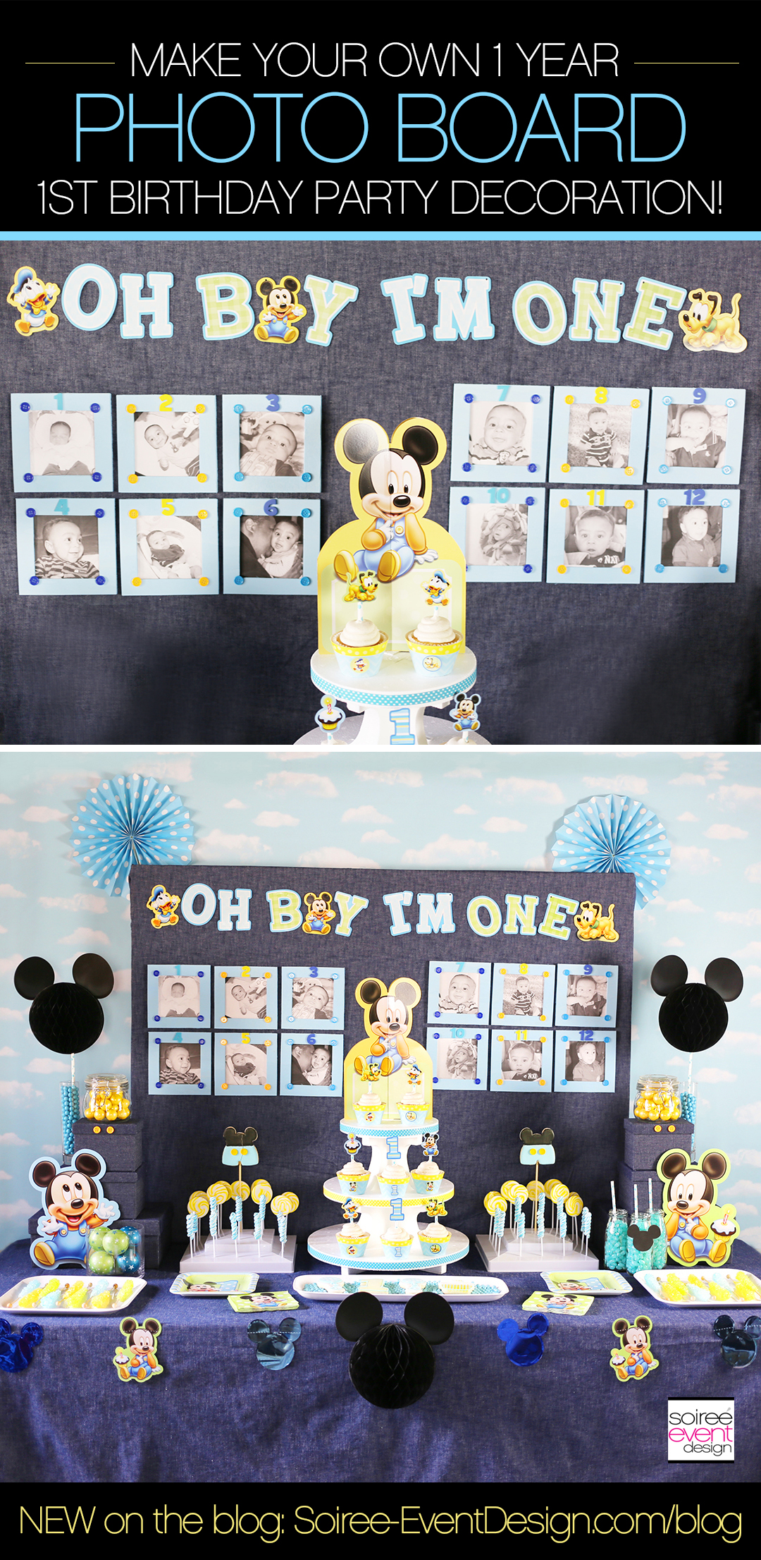 Make Your Own Mickey Mouse First Birthday Party Photo Wall Soiree Event Design
