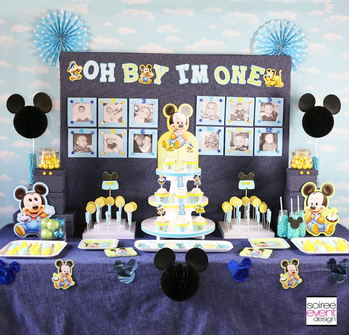 Make Your Own Mickey Mouse First Birthday Party Photo Wall