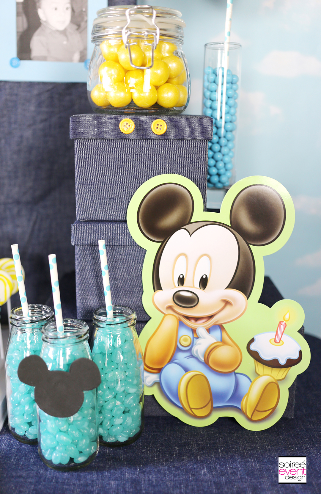 Mickey Mouse first birthday party dessert table