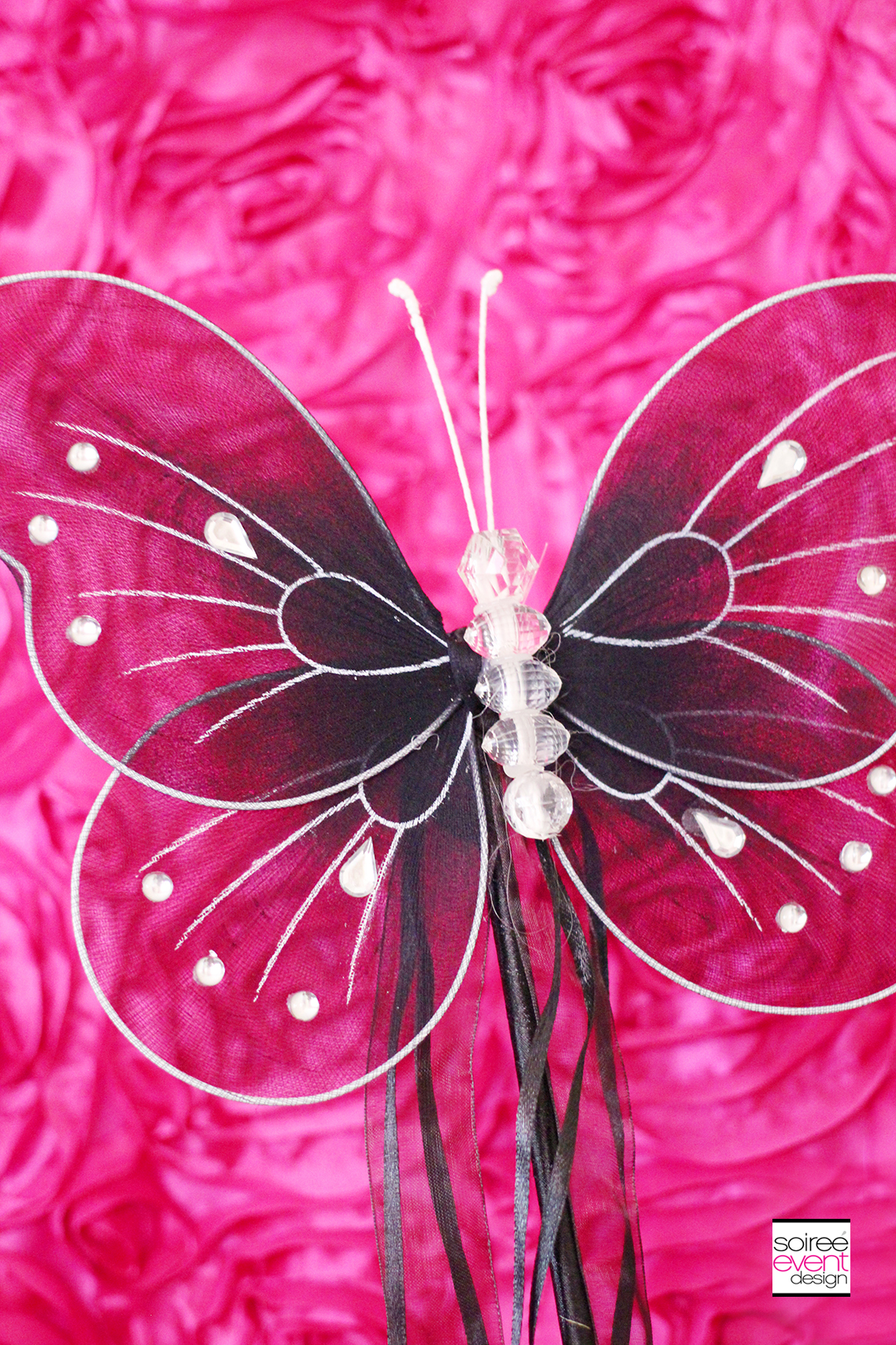Fairy Garden Party Decorations - Black Butterfly Wands