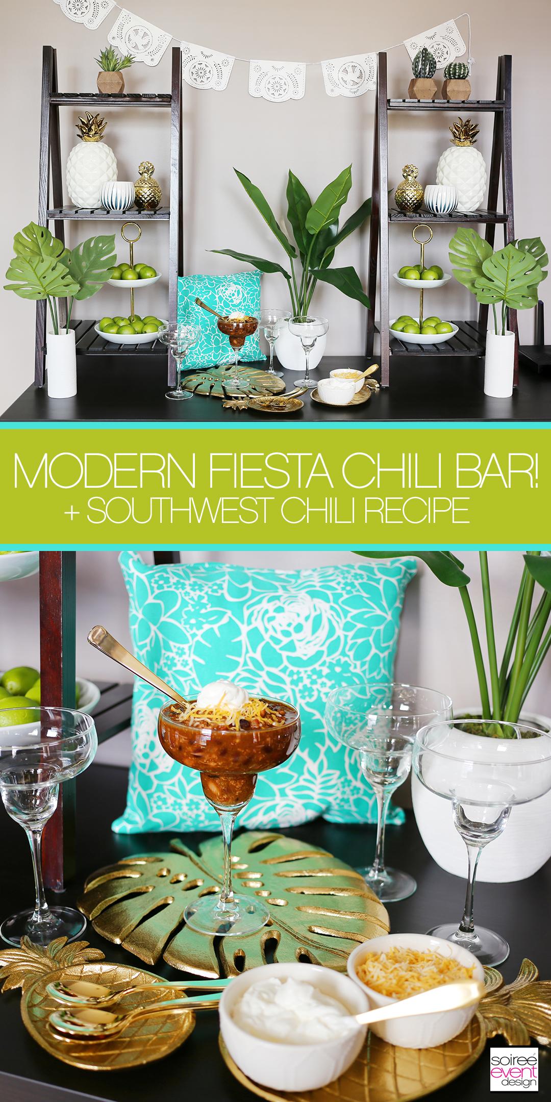 Set up a Modern Fiesta Chili Bar + Southwest Chili Recipe