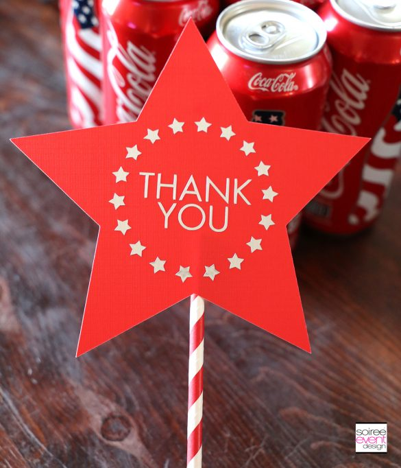 Make this DIY 4th of July THANK YOU Stars and Stripes Topper with Cricut!
