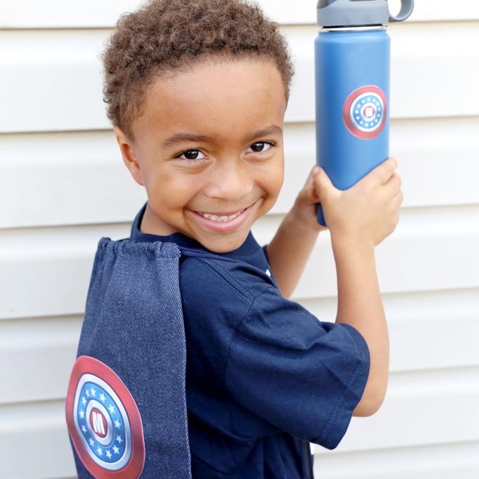 #DIYyour4thOfJuly Superhero Flag Shield Backpack and Water Bottle with Cricut