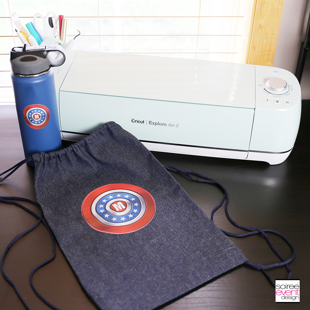 #DIYyour4thOfJuly_Superhero Backpack and Water Bottle with Cricut