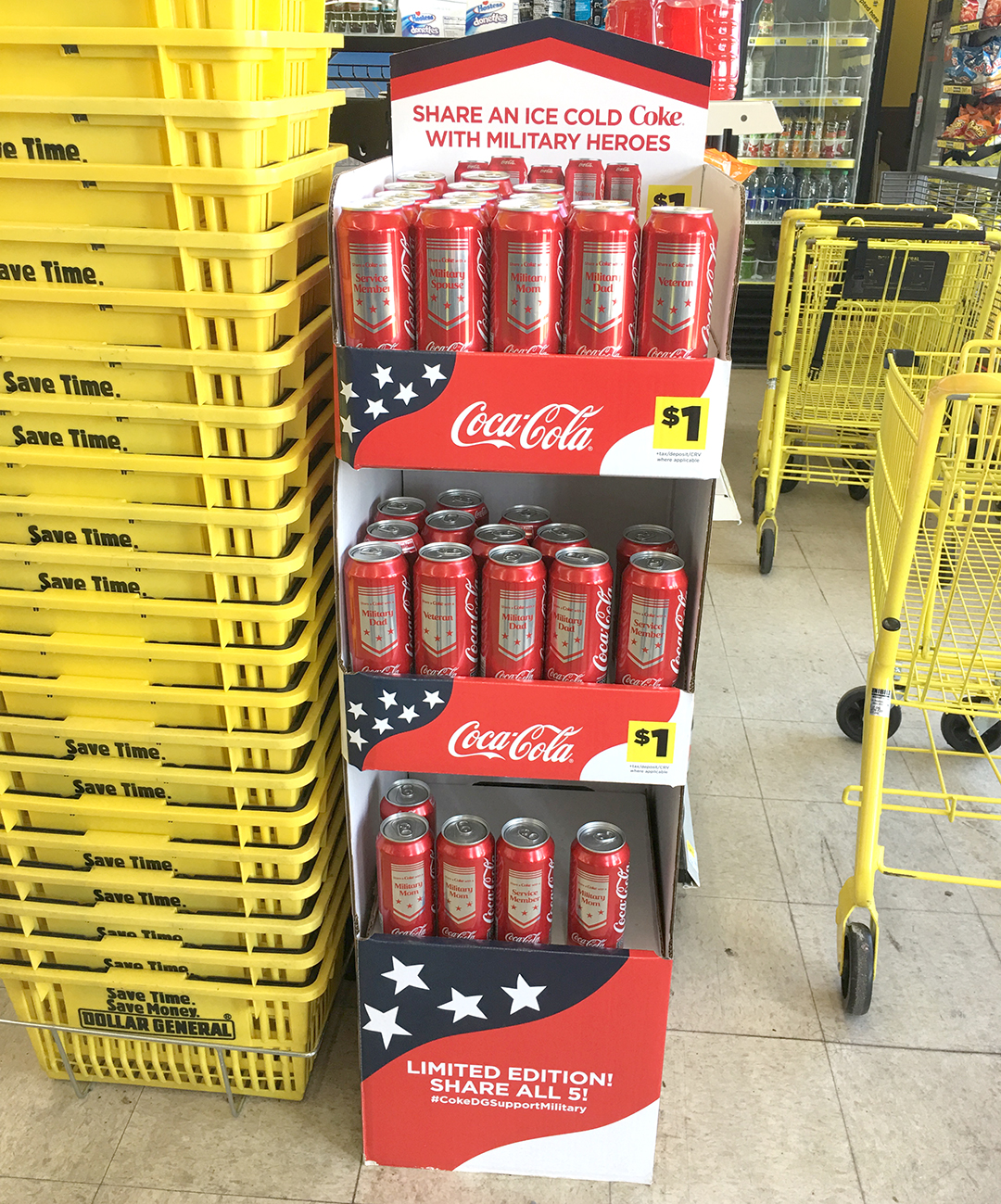 limited edition Coca-Cola® cans exclusively at Dollar General