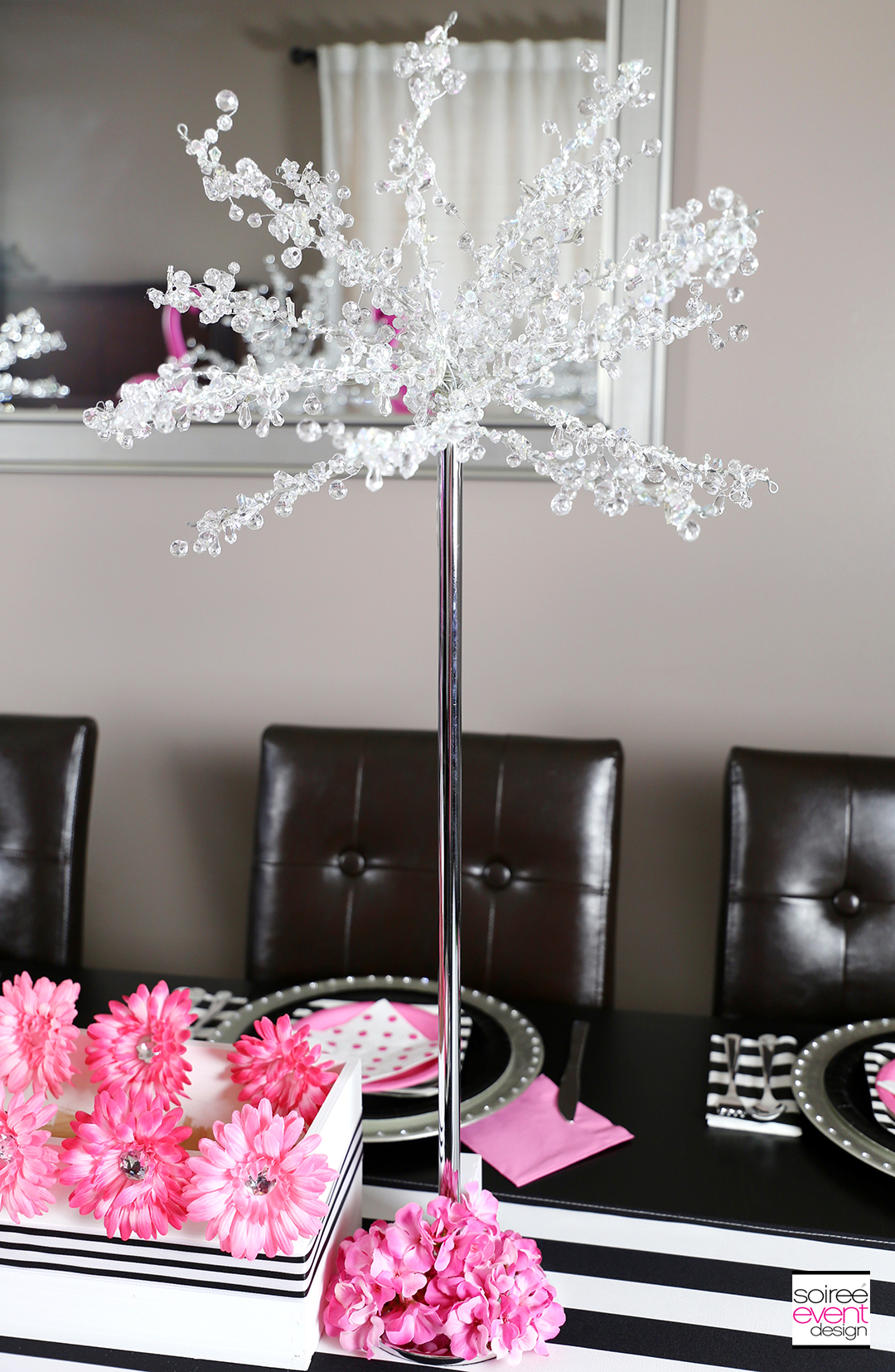 Flamingo Party Tablescape Bling Trees