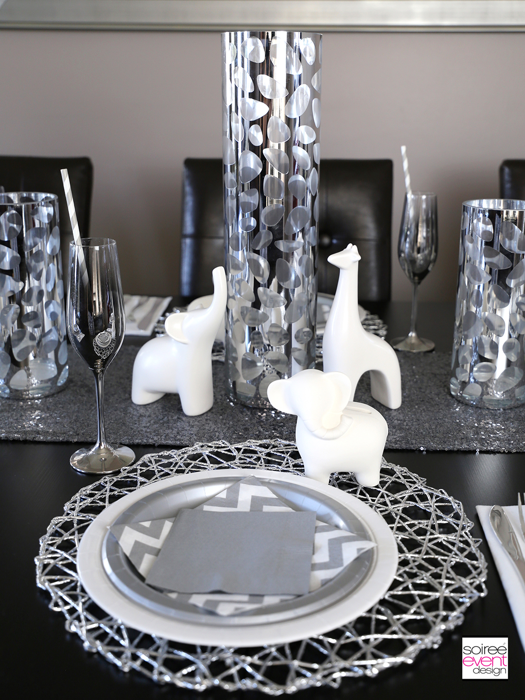 Modern Safari Party Tablescape - Silver Centerpiece