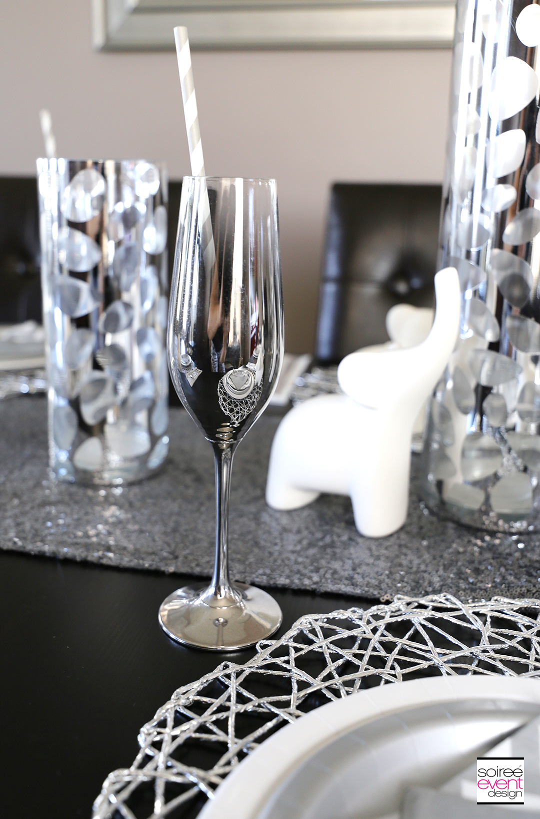 Modern Safari Tablescape - Silver Glasses