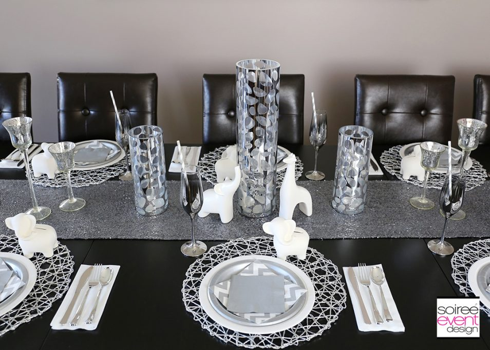 Modern Safari Tablescape - Silver and White