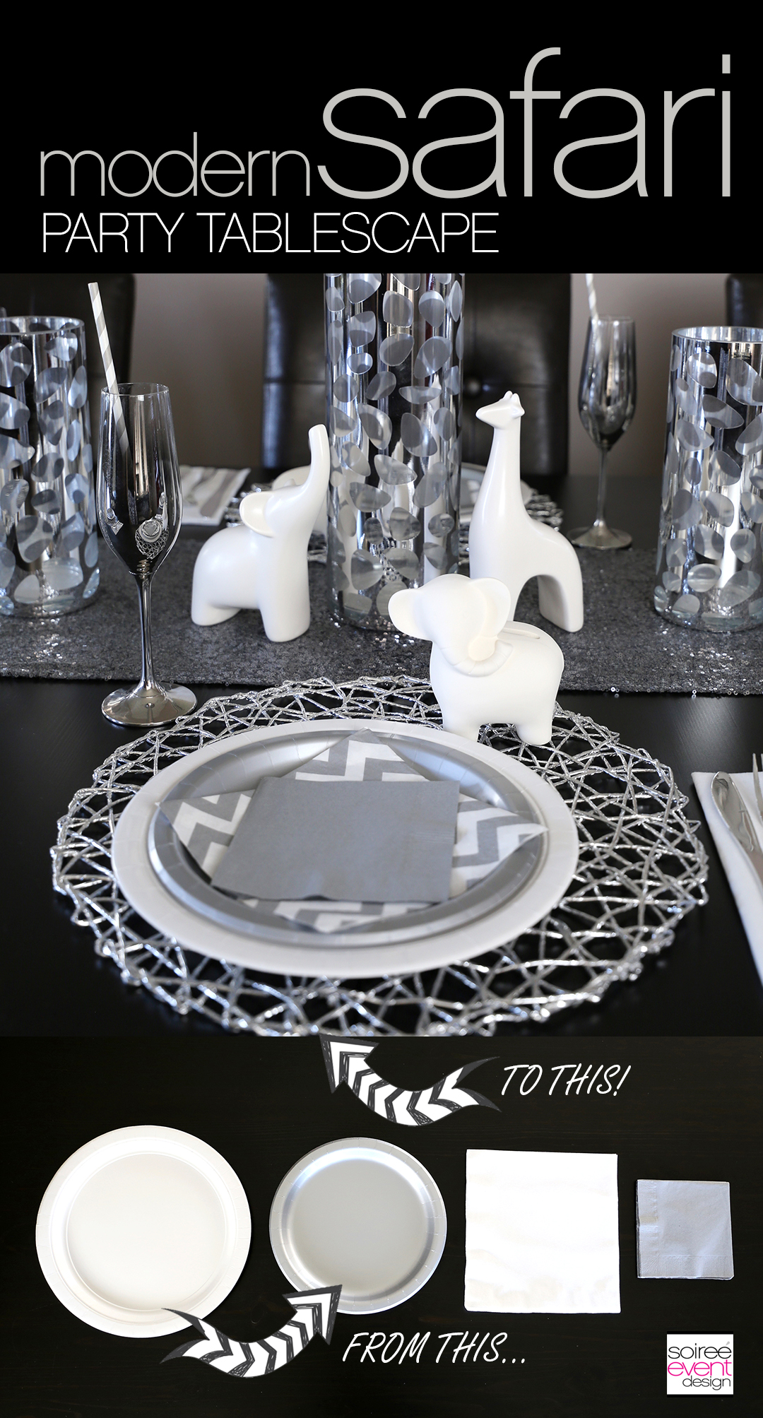 Modern Safari party tablescape