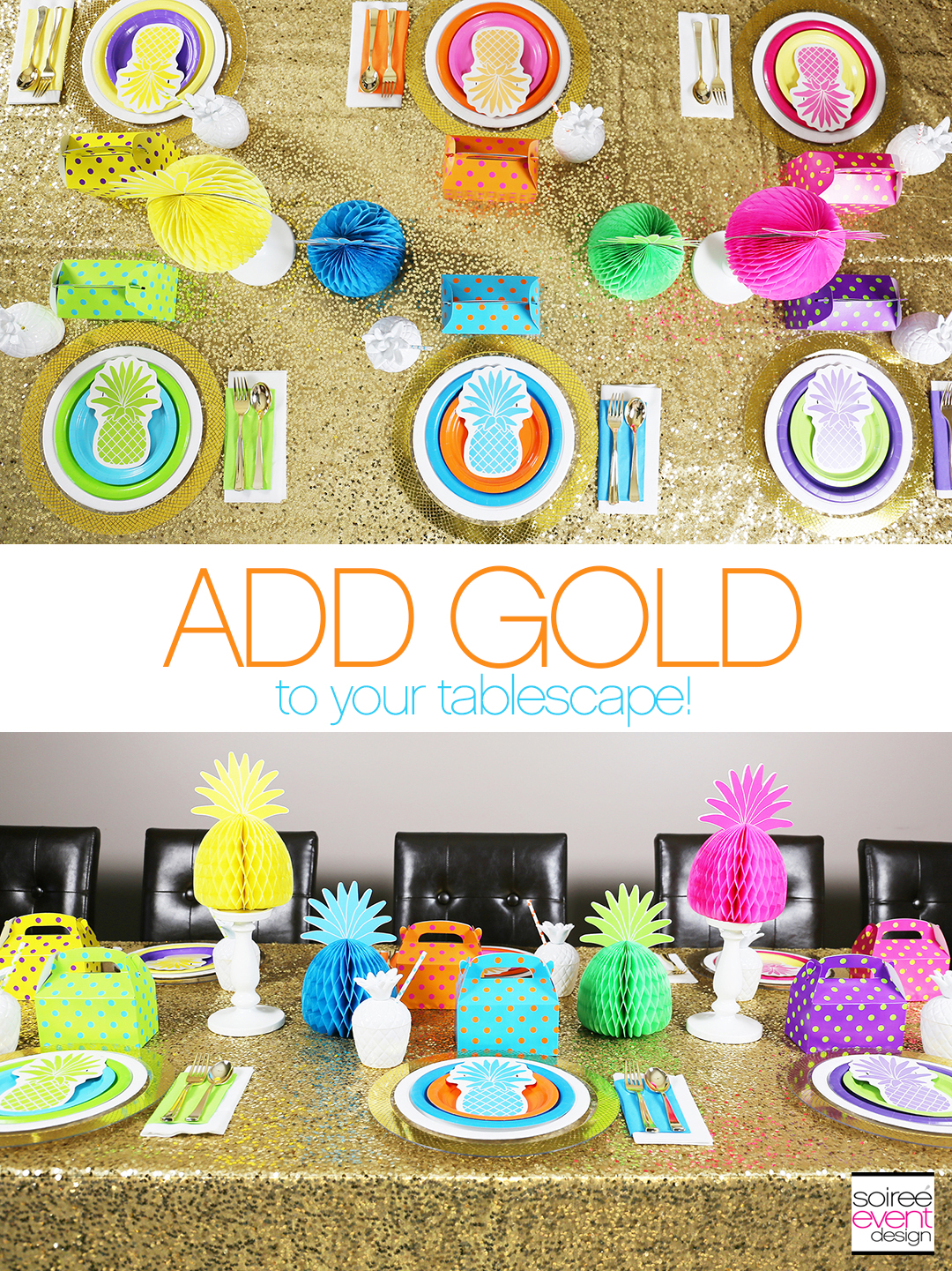 Rainbow Party Ideas - Pineapple Rainbow Party Tablescape 3