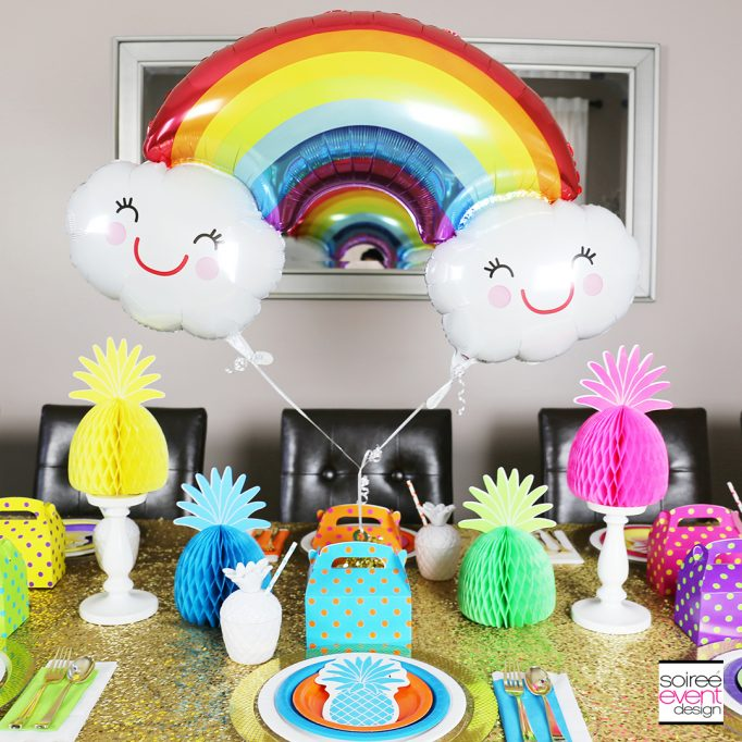 How To Style a Pineapple Rainbow Party Tablescape