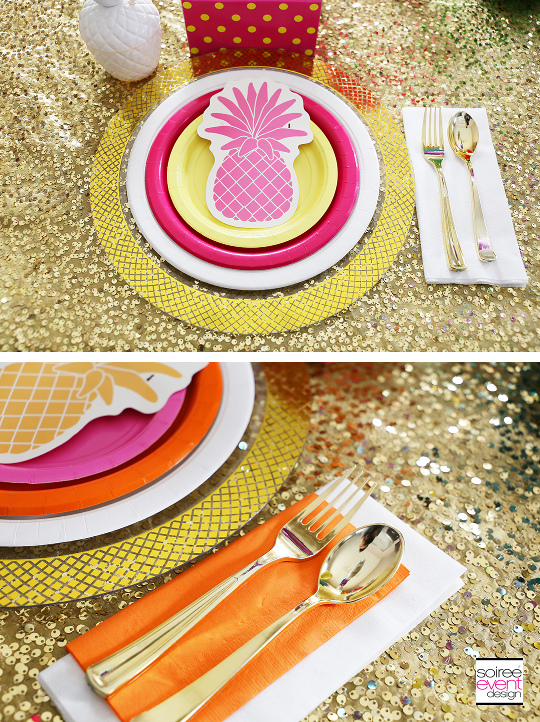 Rainbow Party Ideas - Pineapple Rainbow Party Tablescape 5