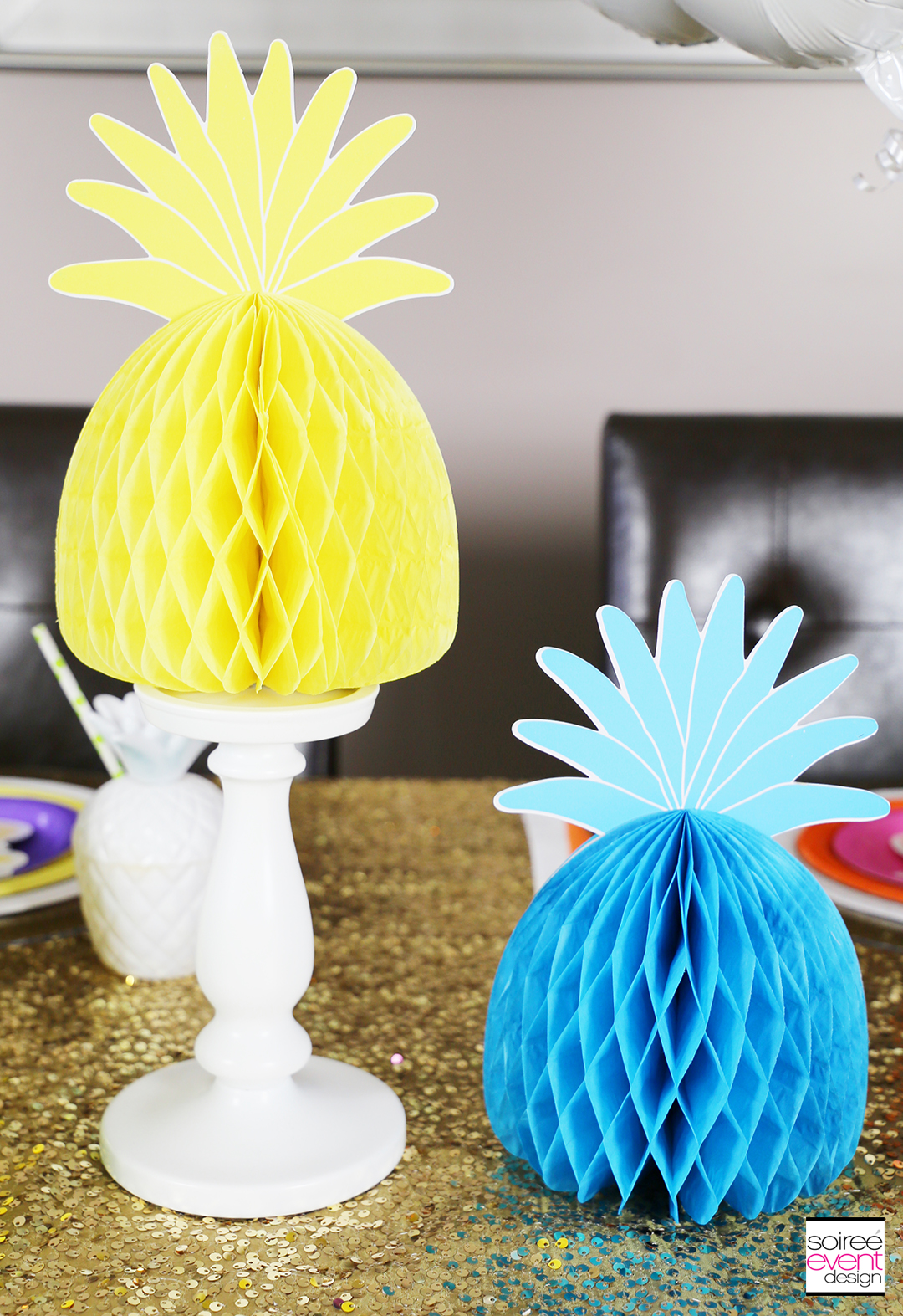Rainbow Party Ideas - Pineapple Rainbow Party Tablescape 8