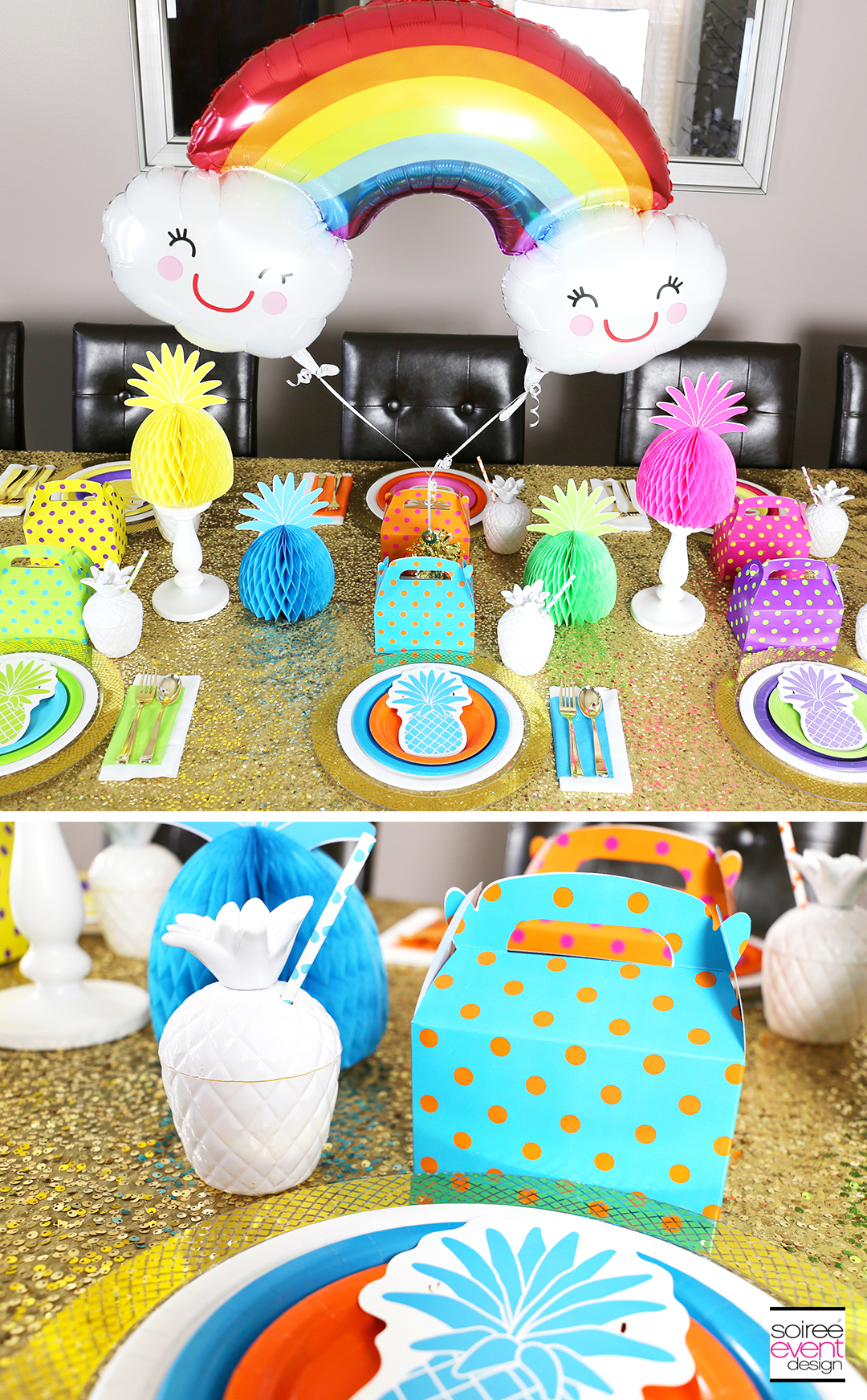 Rainbow Party Ideas - Pineapple Rainbow Party Tablescape 9