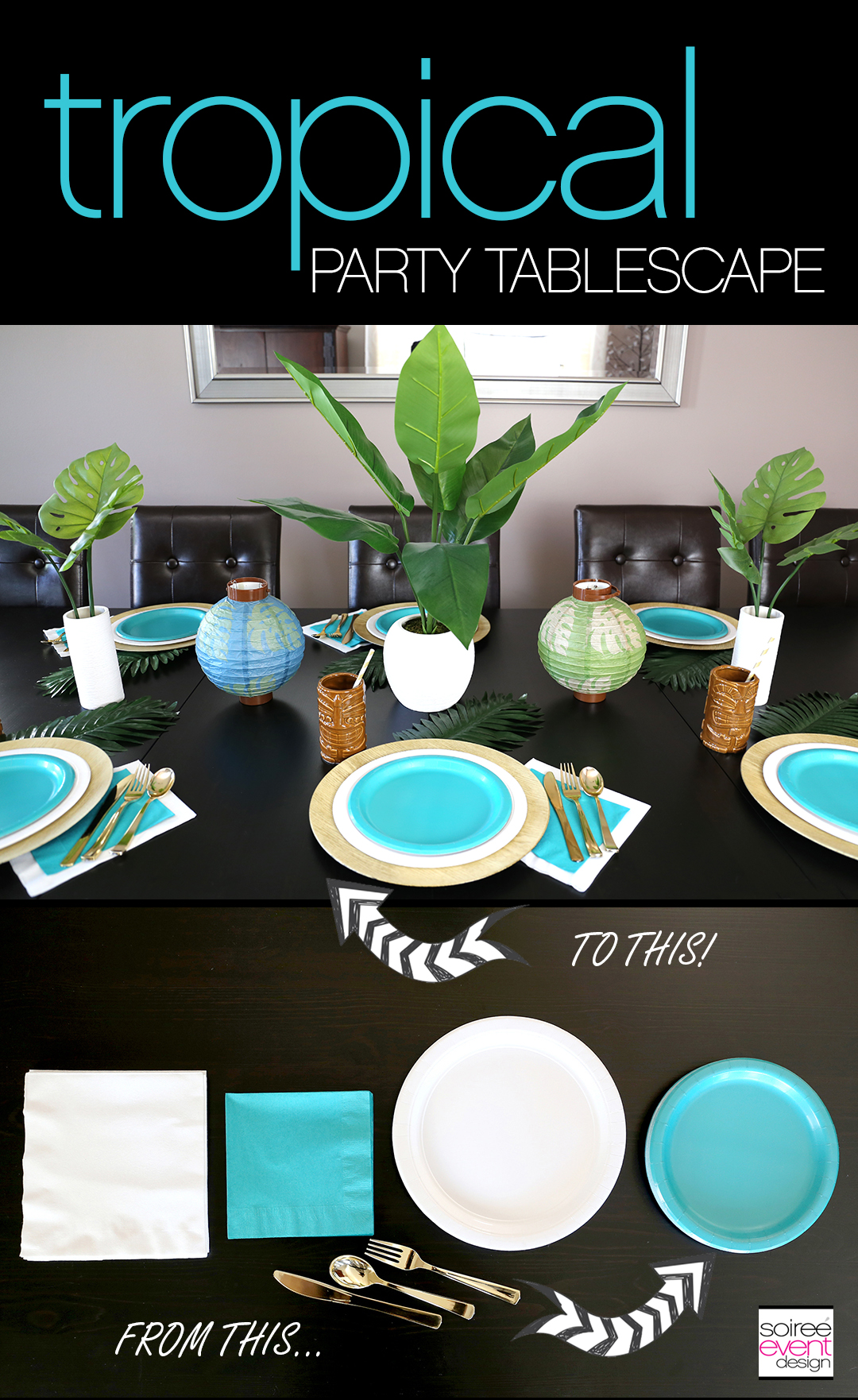 Tropical Party Ideas - Tropical Party Tablescape