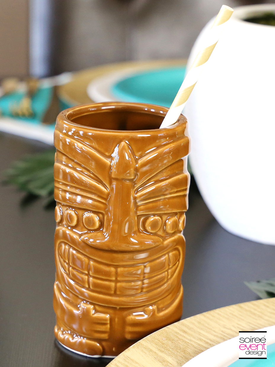 Tropical Party Tablescape Tiki Tumblers