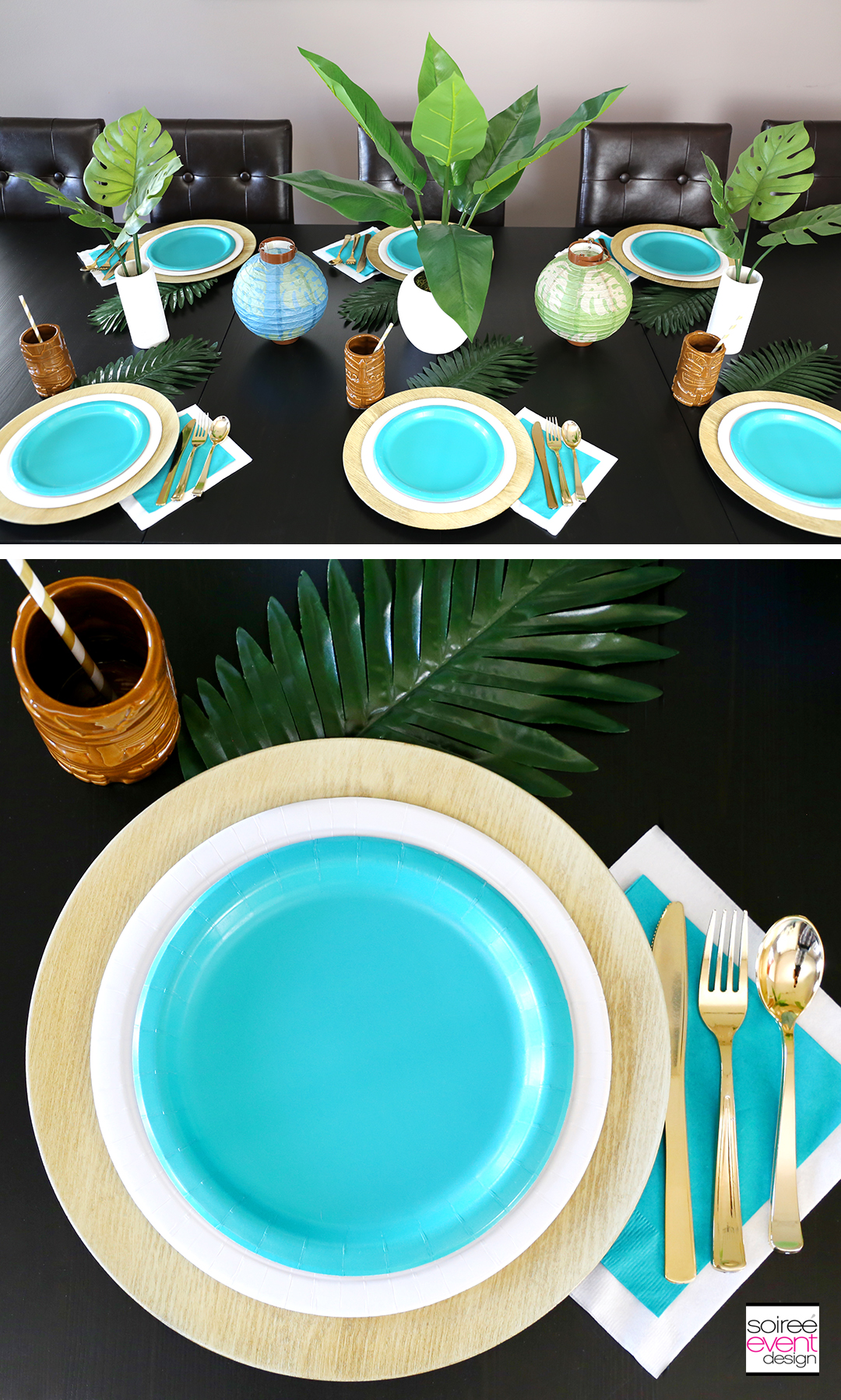 Using a charger under paper plates gives your place setting a more high-end look. Chargers come in so many colors and styles that you can find one to match ... & How to Style a Tropical Party Tablescape - Soiree Event Design