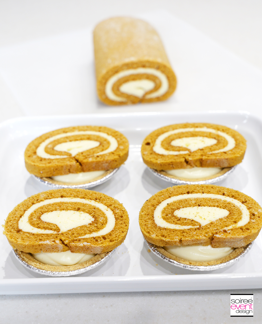 Mini Pumpkin Roll Cheesecakes - Step 4A