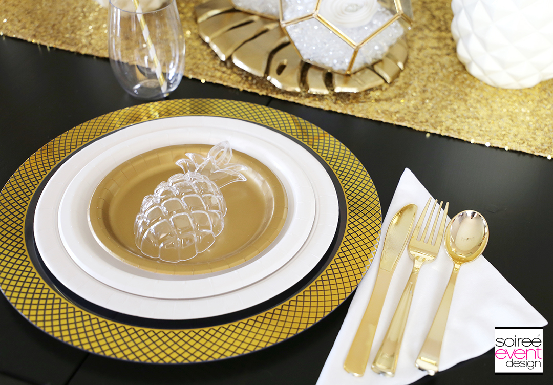 Modern Gold Pineapple Party Tablescape 3