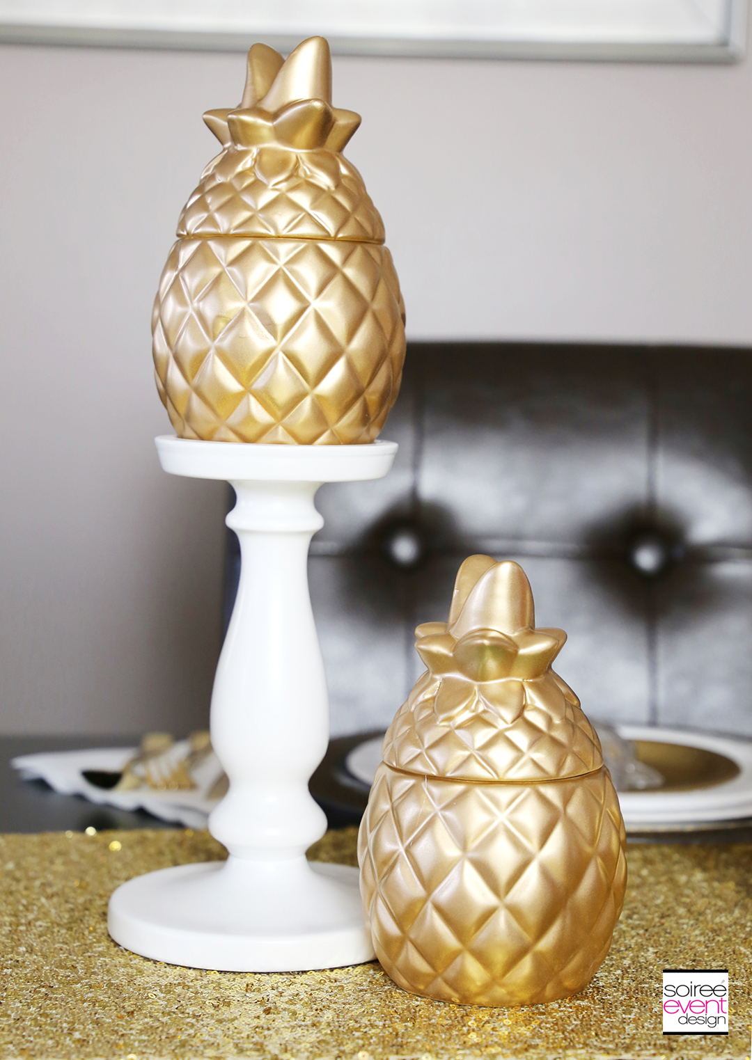 Modern Gold Pineapple Party Tablescape 4