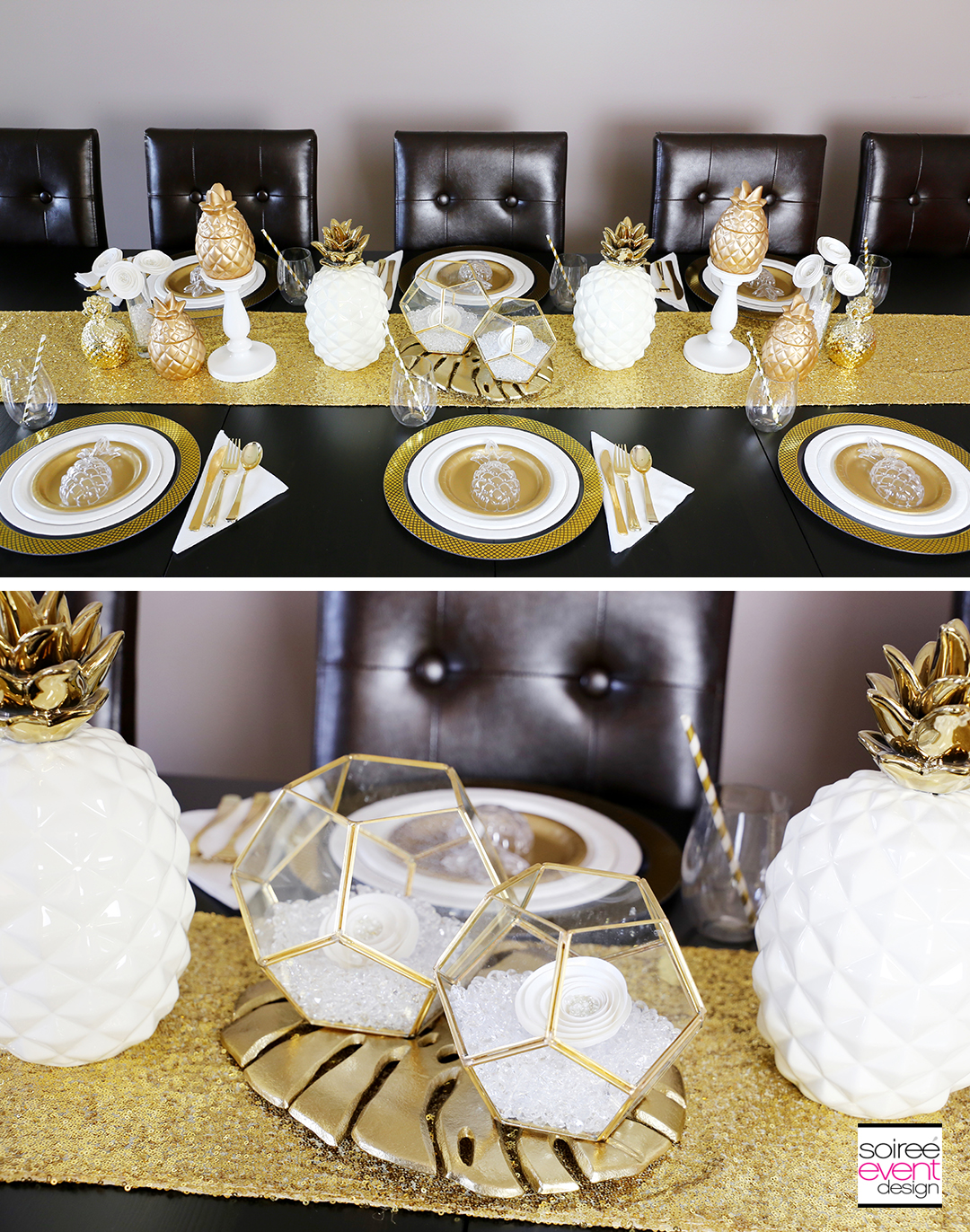 Modern Gold Pineapple Party Tablescape 5