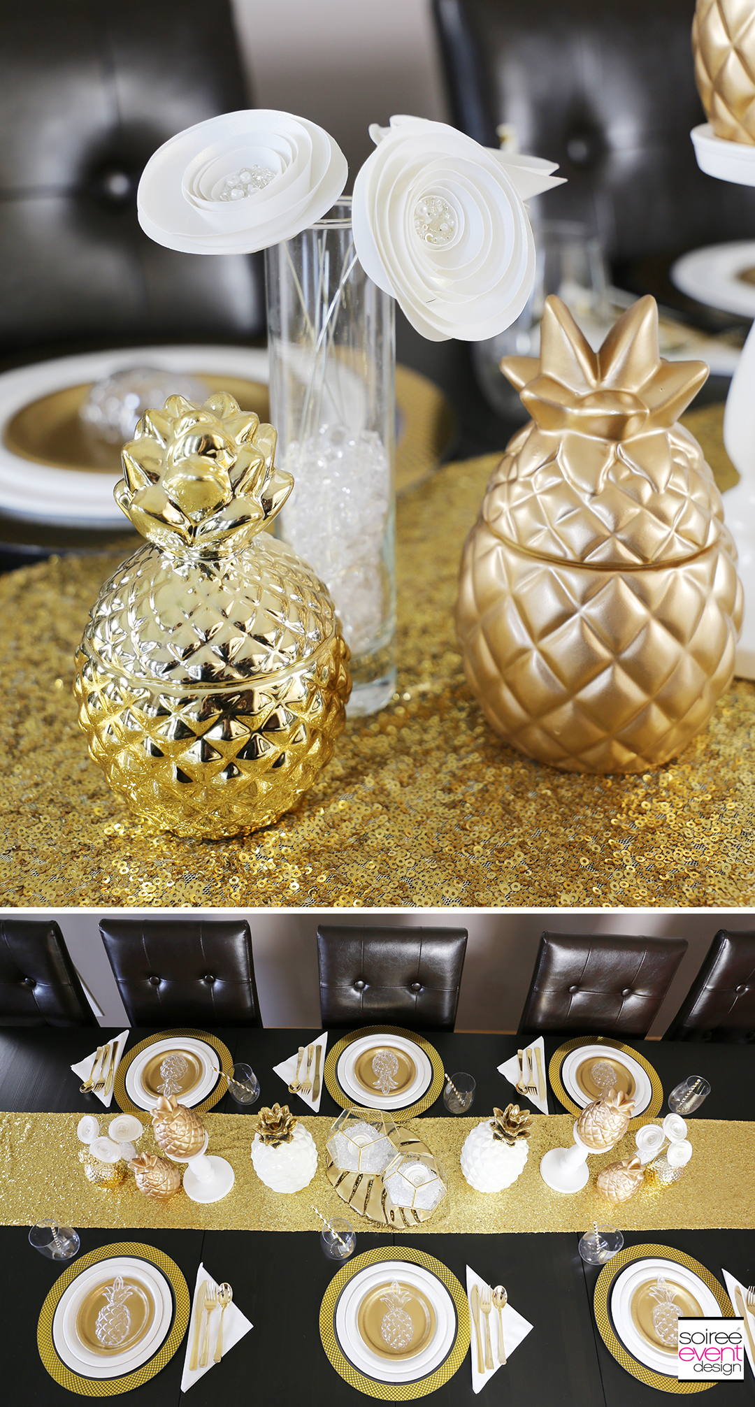 Modern Gold Pineapple Party Tablescape 6