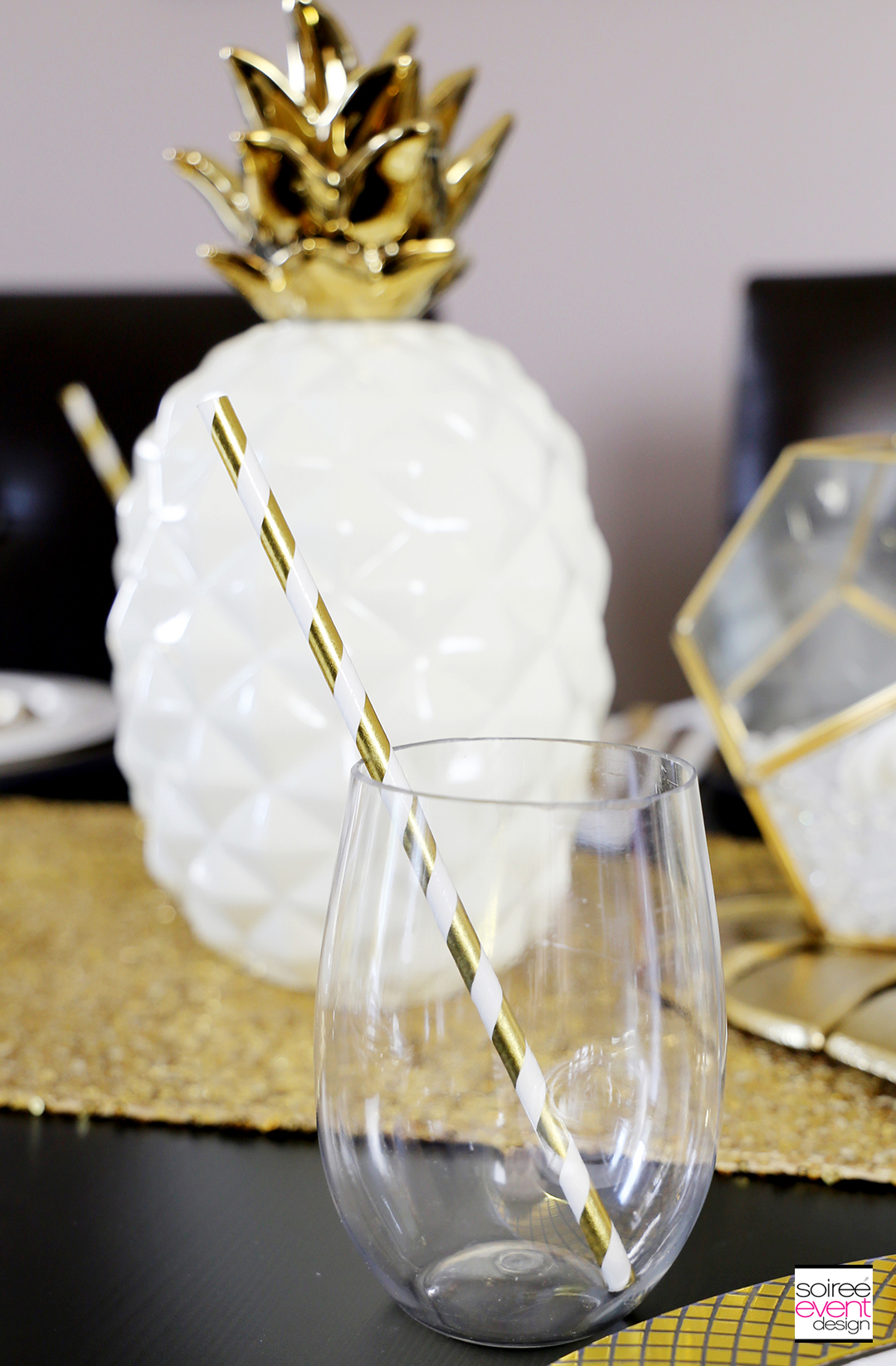 Modern Gold Pineapple Party Tablescape 7