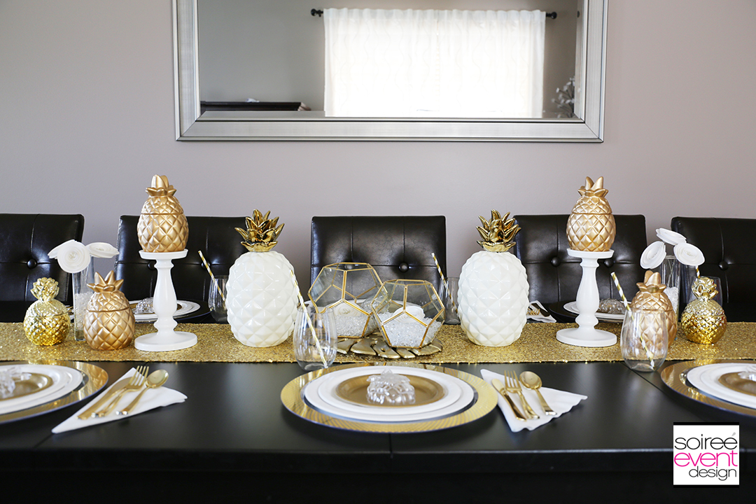 Modern Gold Pineapple Party Tablescape 8