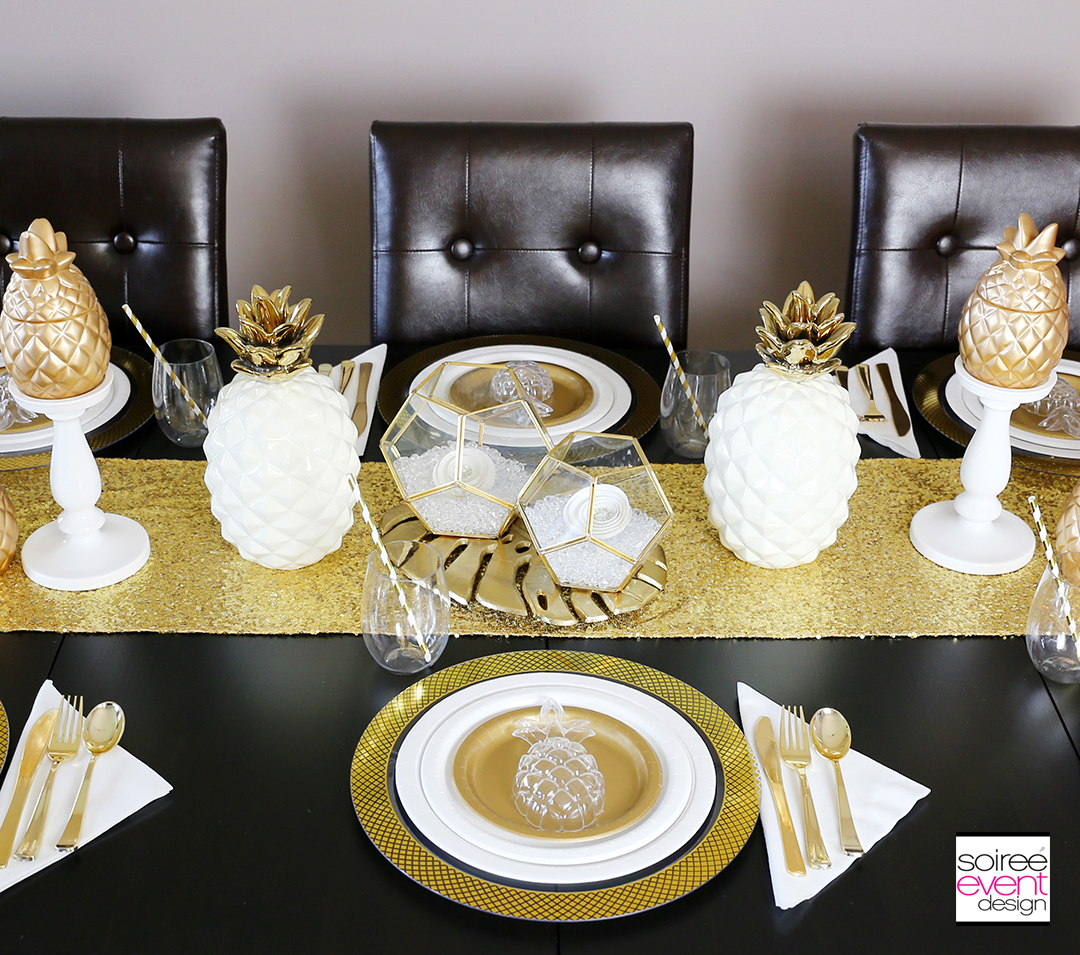 Modern Gold Pineapple Party Tablescape